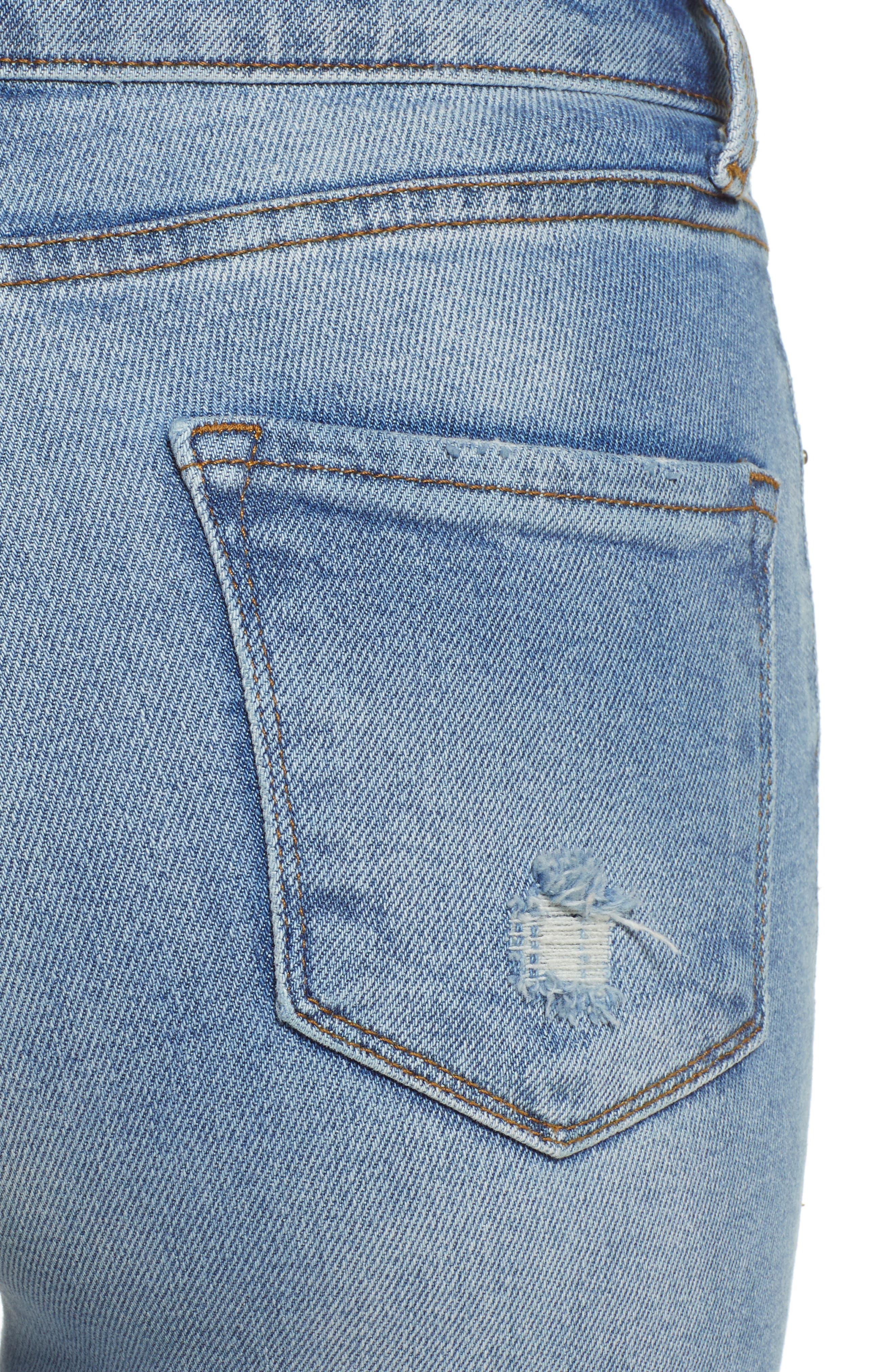 Brie High Waist Ripped Skinny Jeans,                             Alternate thumbnail 4, color,                             BRADFORD LIGHT WASH