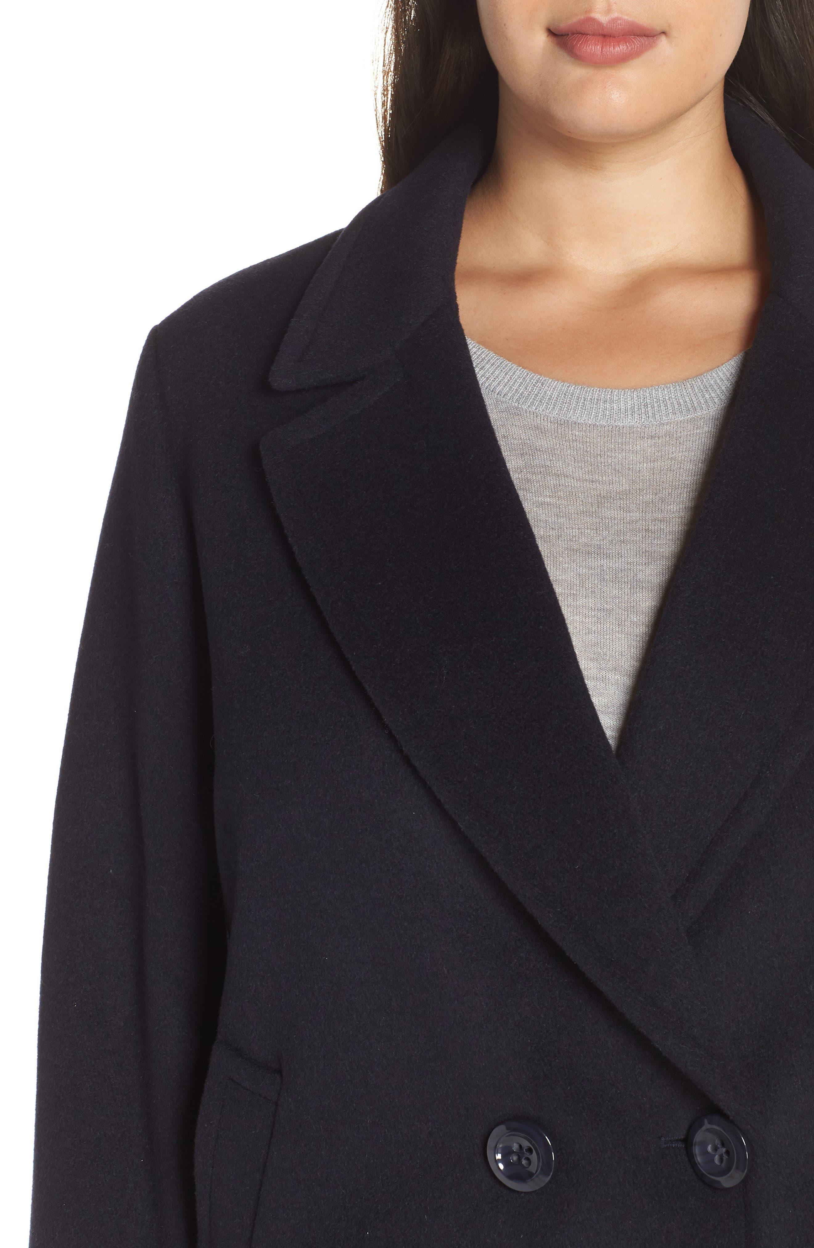 Wool Blend Notch Collar Coat,                             Alternate thumbnail 4, color,                             NAVY