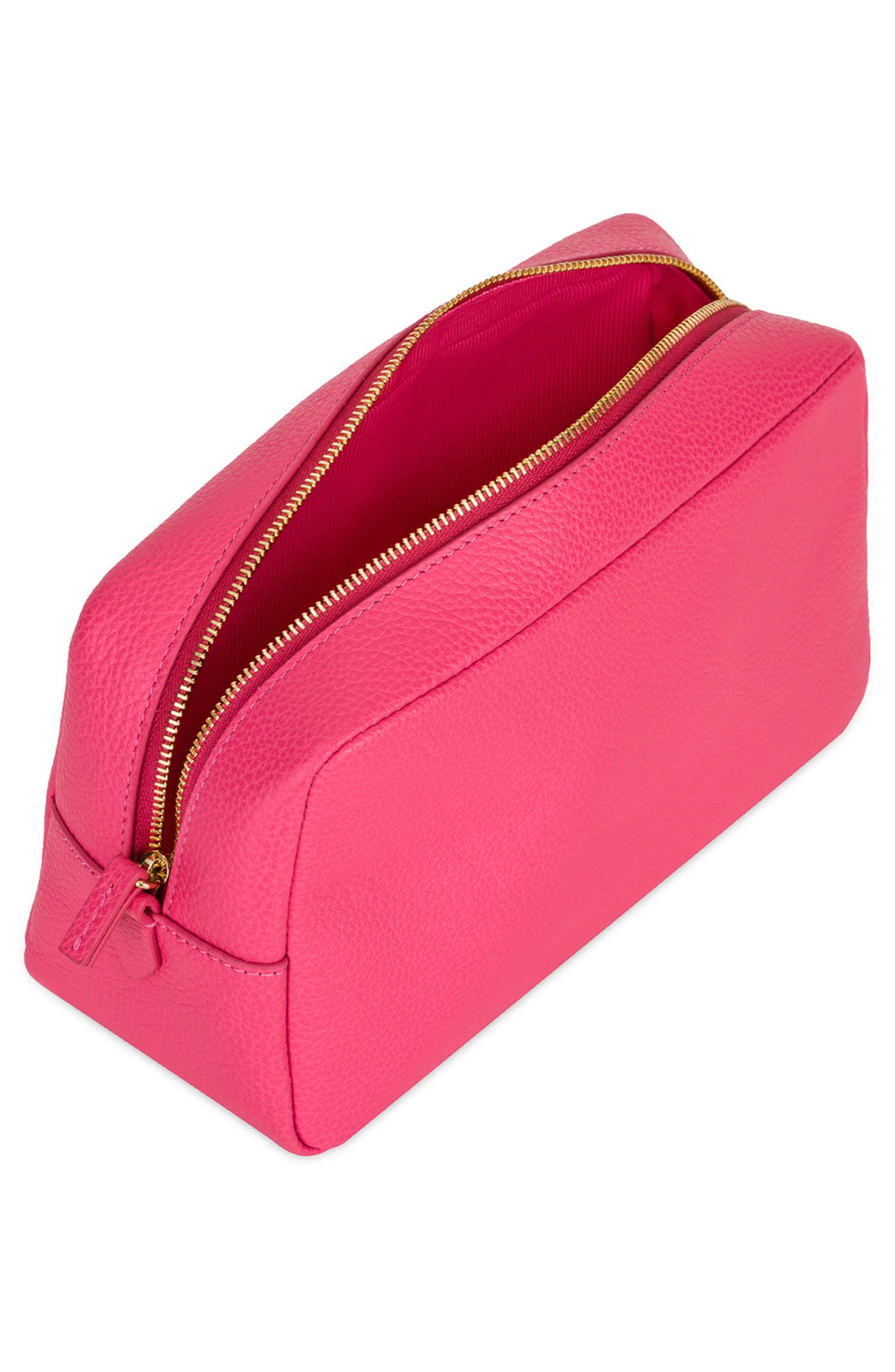 Bloom Extra Large Leather Cosmetic Bag,                             Alternate thumbnail 3, color,