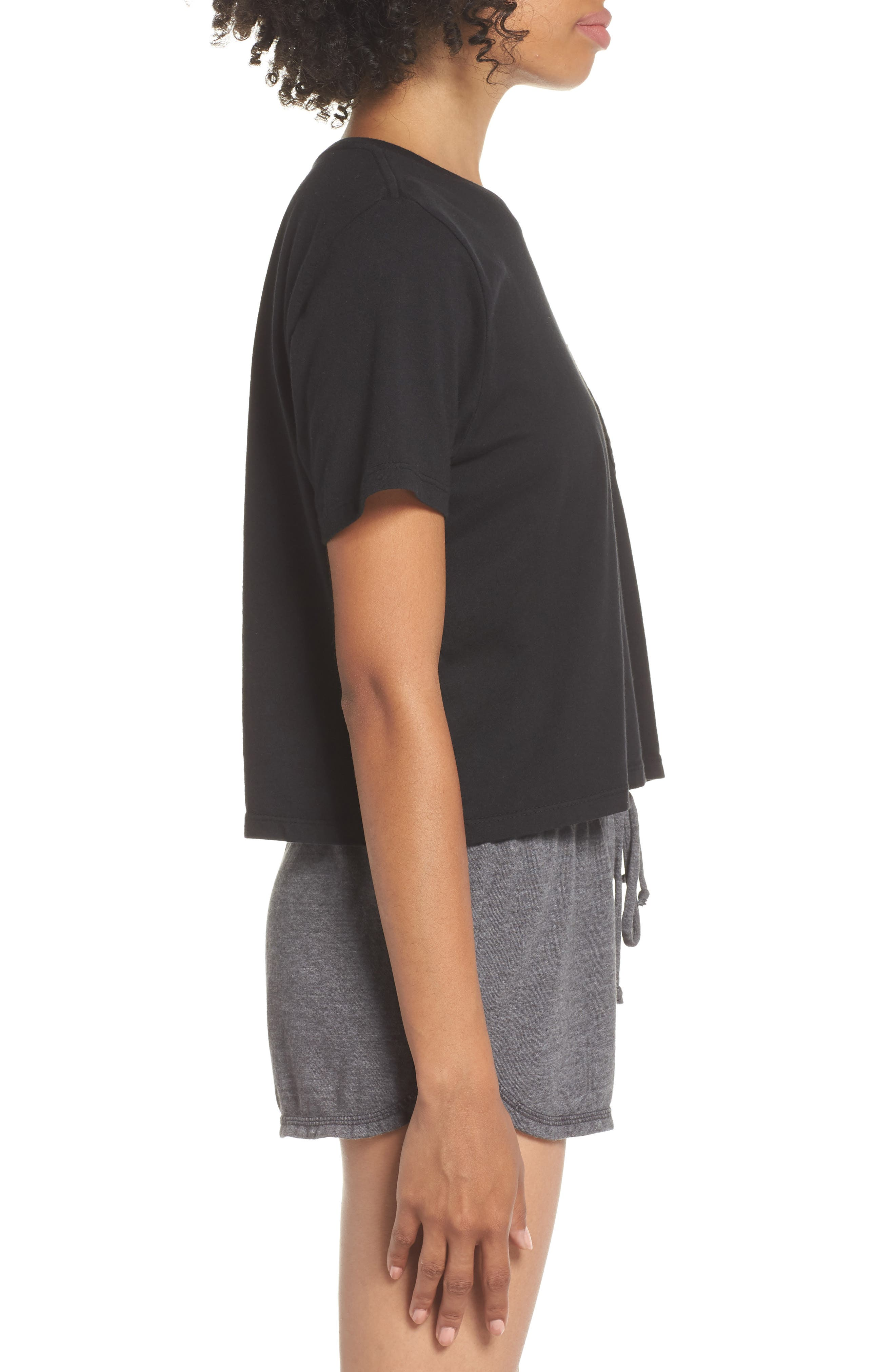 Boxy Crop Tee,                             Alternate thumbnail 3, color,                             BLACK