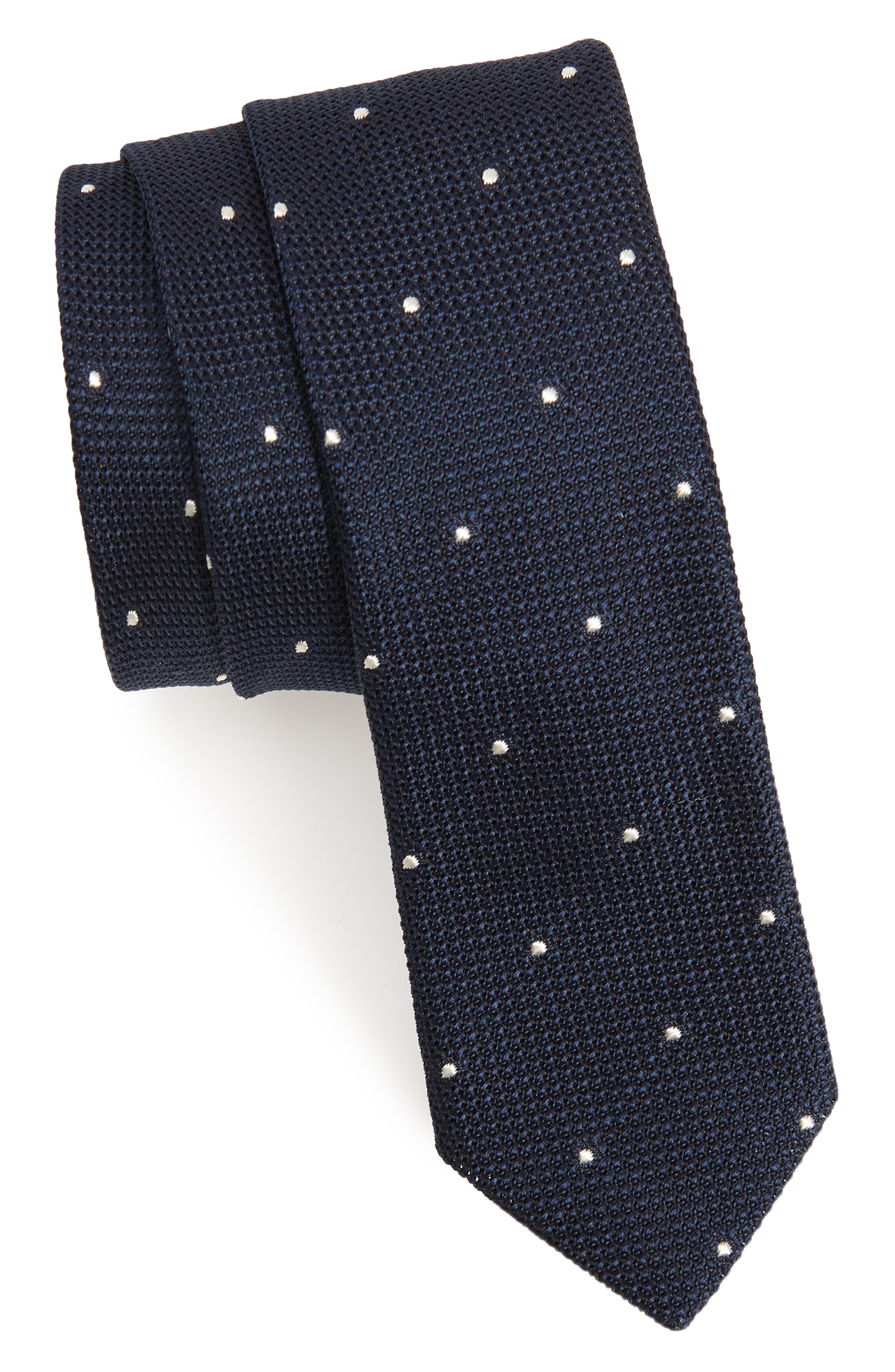 Dot Silk Skinny Tie,                             Main thumbnail 1, color,                             411