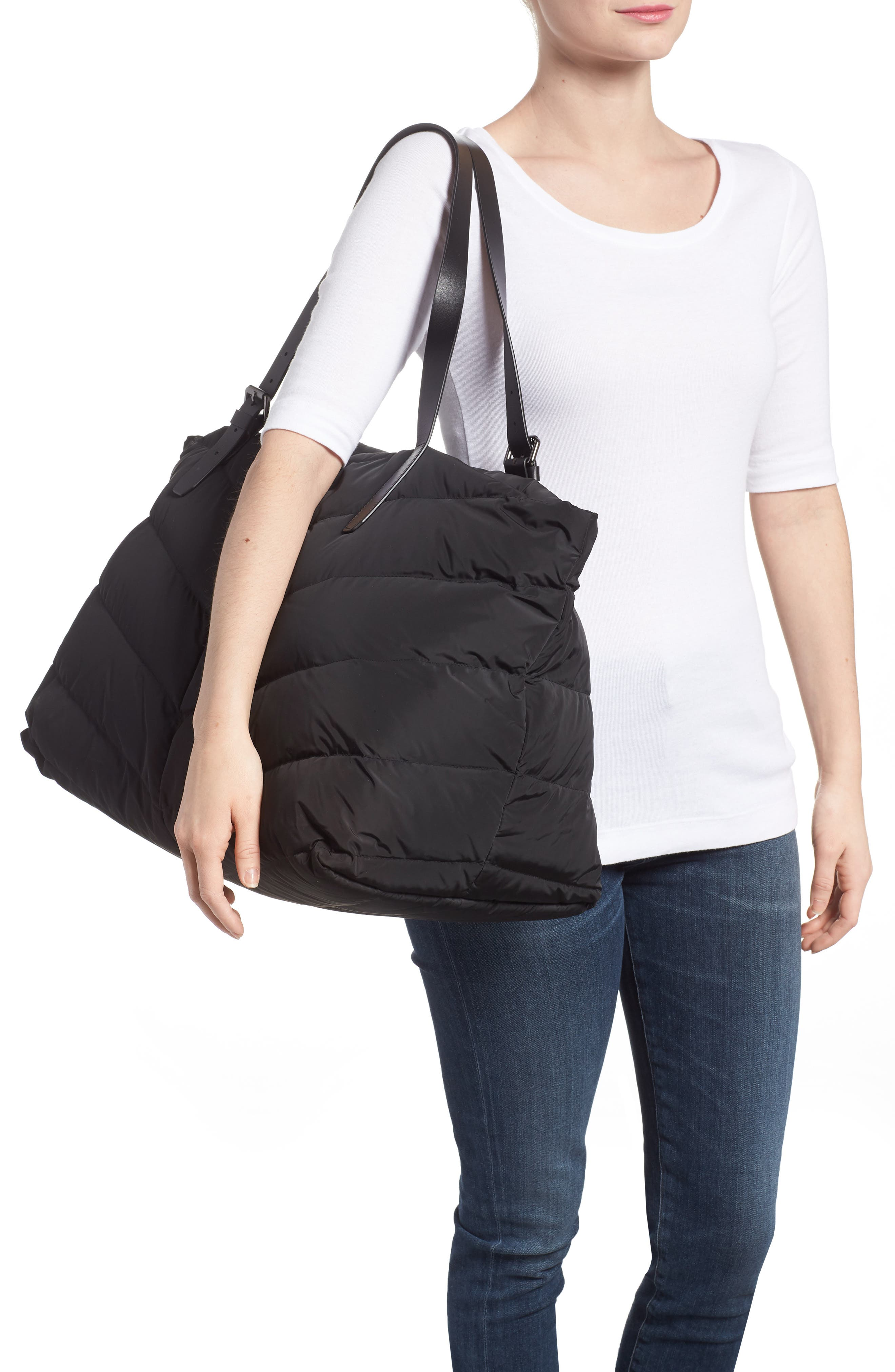 Emilee Quilted Nylon Weekend Tote,                             Alternate thumbnail 2, color,                             001