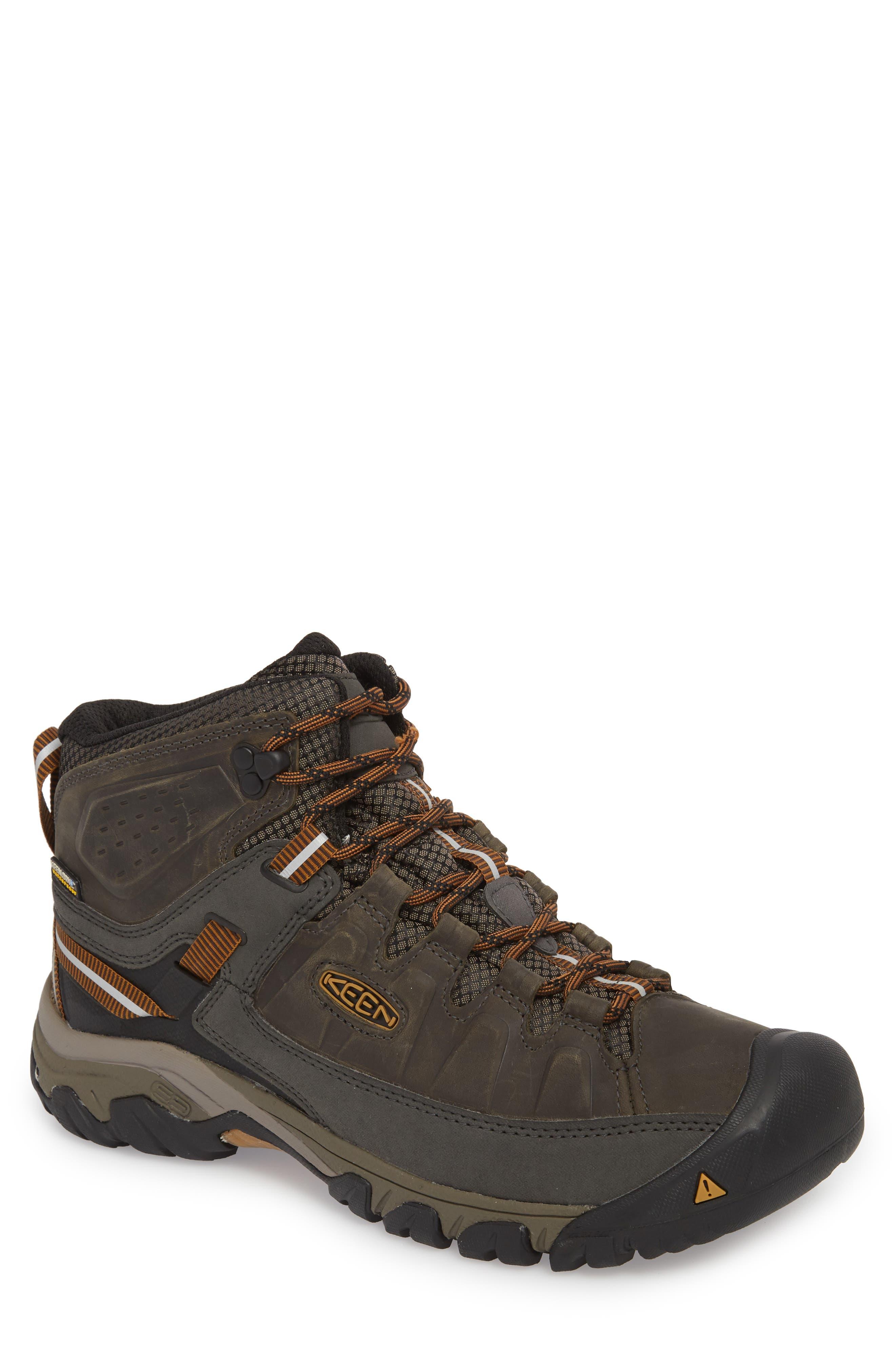 Targhee III Mid Waterproof Hiking Boot,                             Main thumbnail 1, color,                             BLACK OLIVE/GOLDEN BROWN