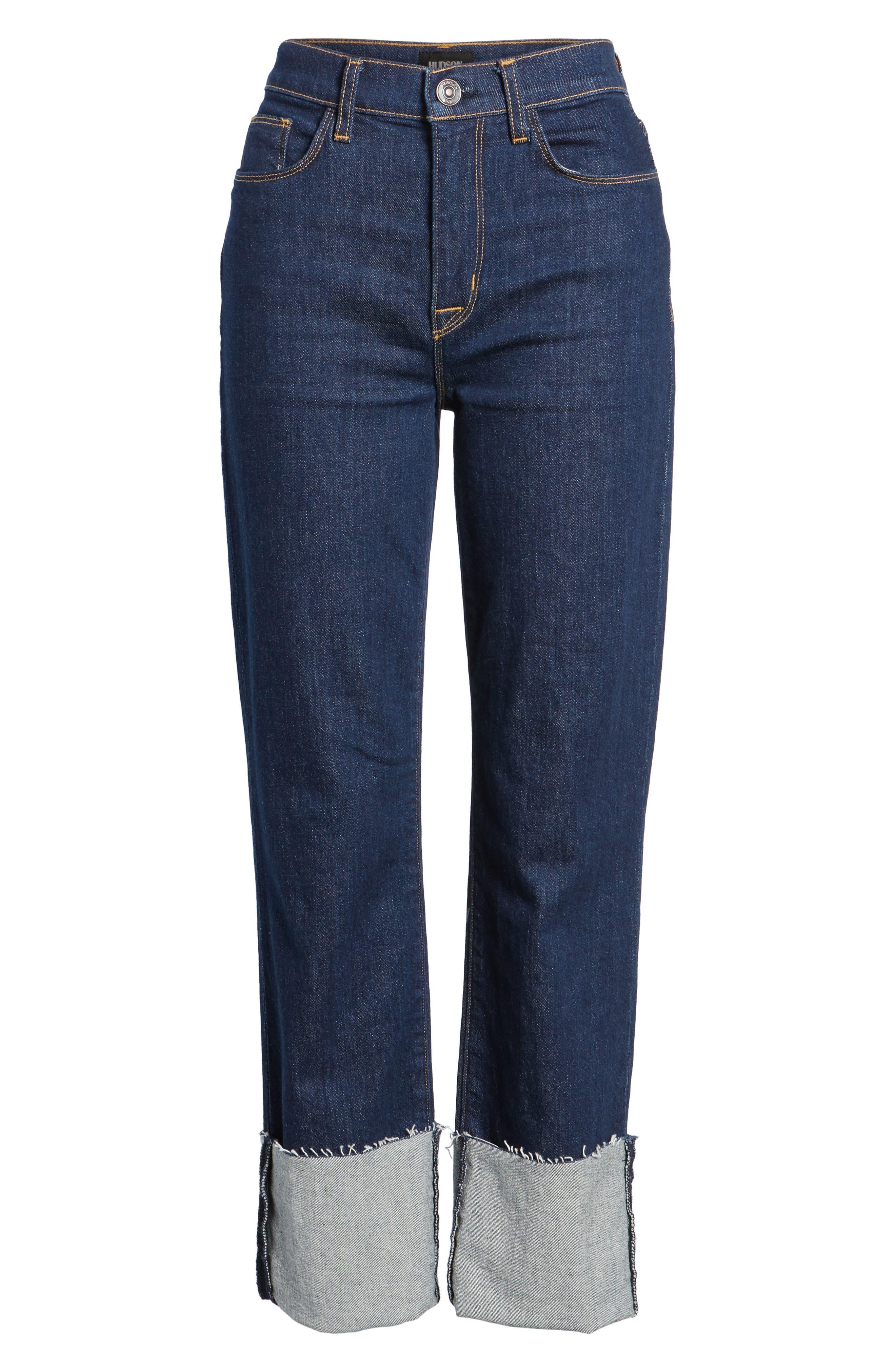 Zoeey High Waist Crop Straight Leg Jeans,                             Alternate thumbnail 17, color,