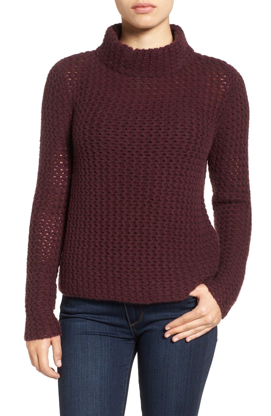 Stitch Detail Cashmere Mock Neck Sweater,                             Main thumbnail 3, color,
