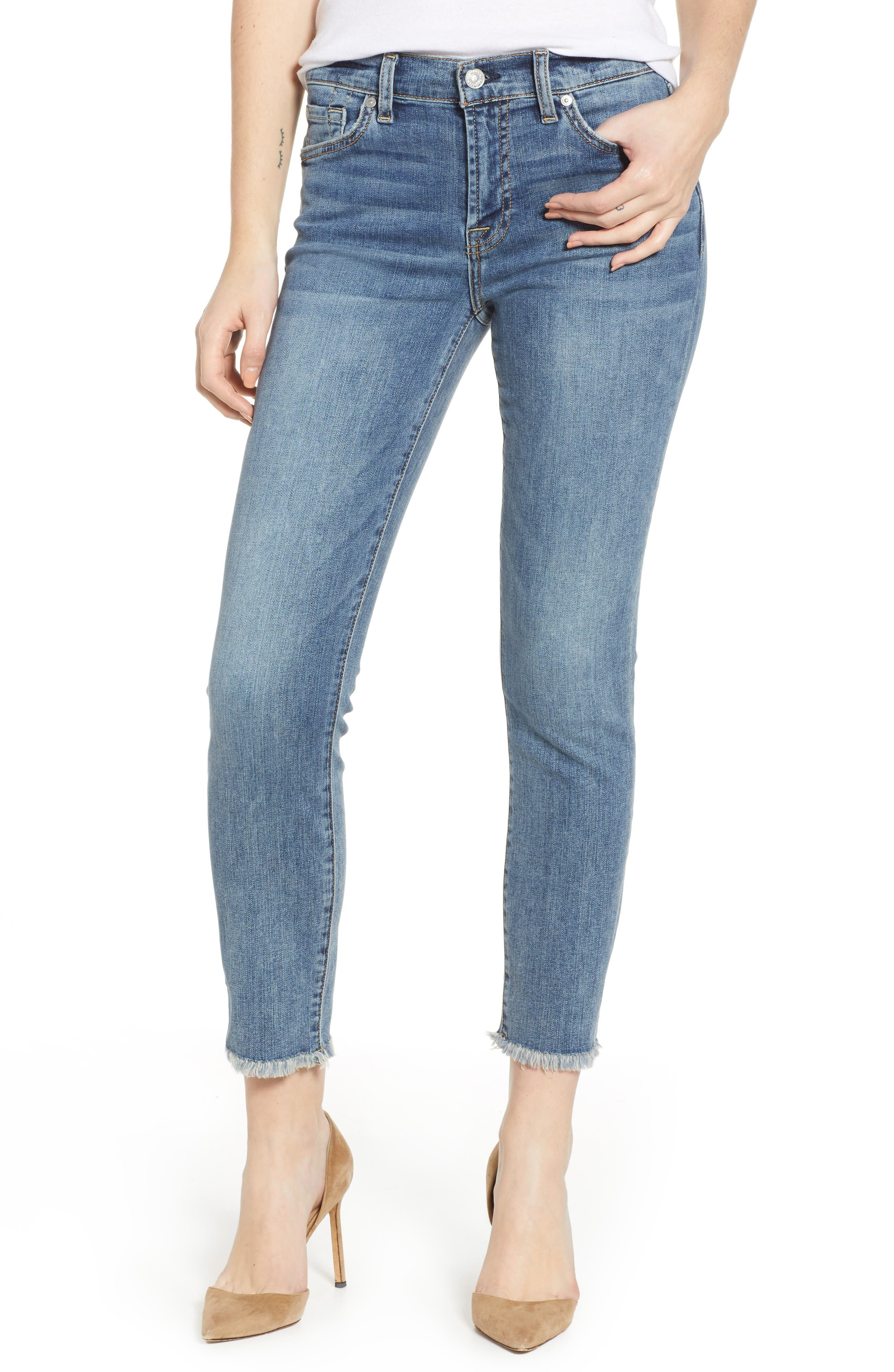7 FOR ALL MANKIND<SUP>®</SUP> b(air) Roxanne Frayed Ankle Slim Jeans, Main, color, 402
