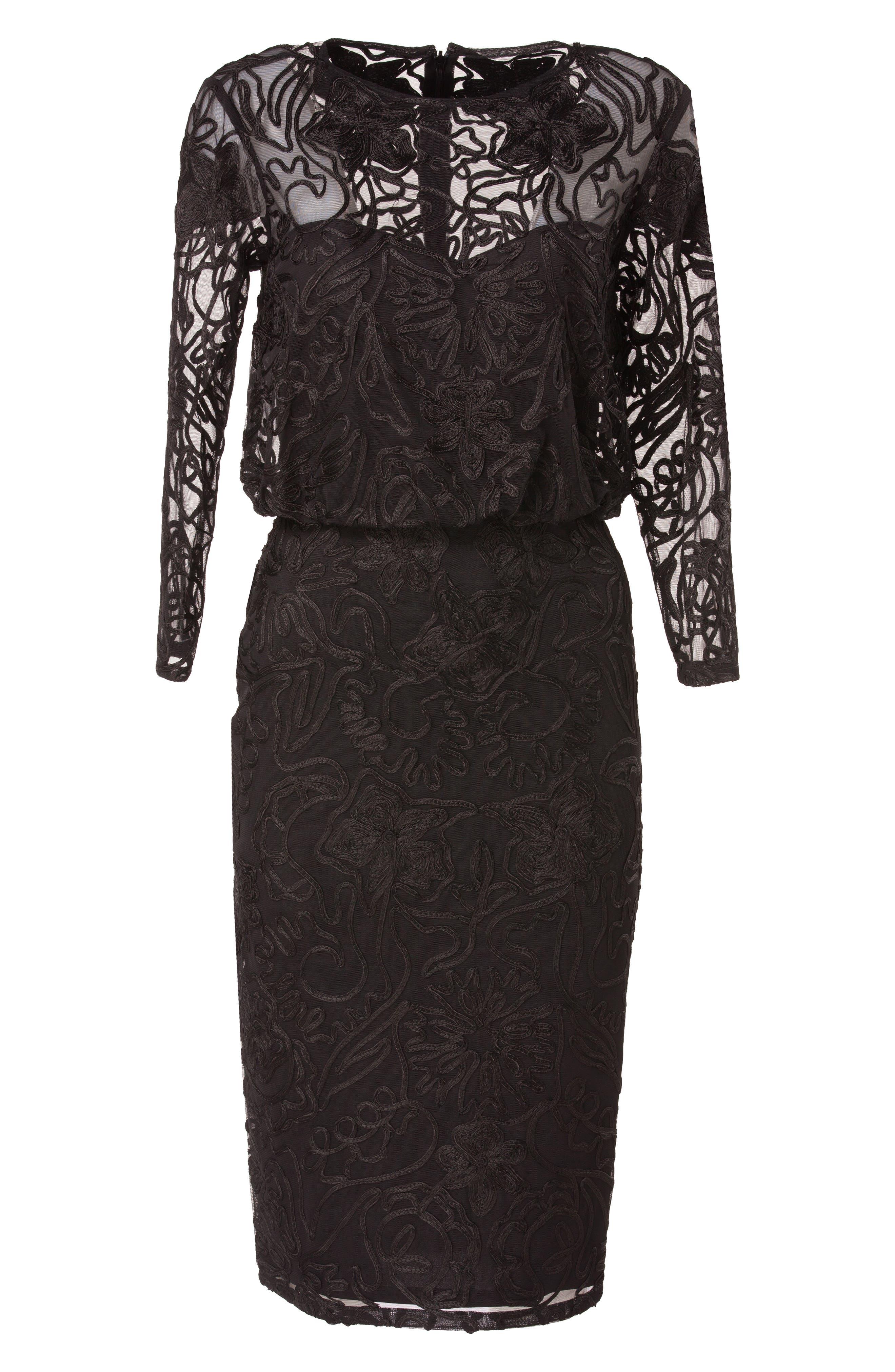 Soutache Embroidered Blouson Dress,                             Alternate thumbnail 4, color,                             BLACK
