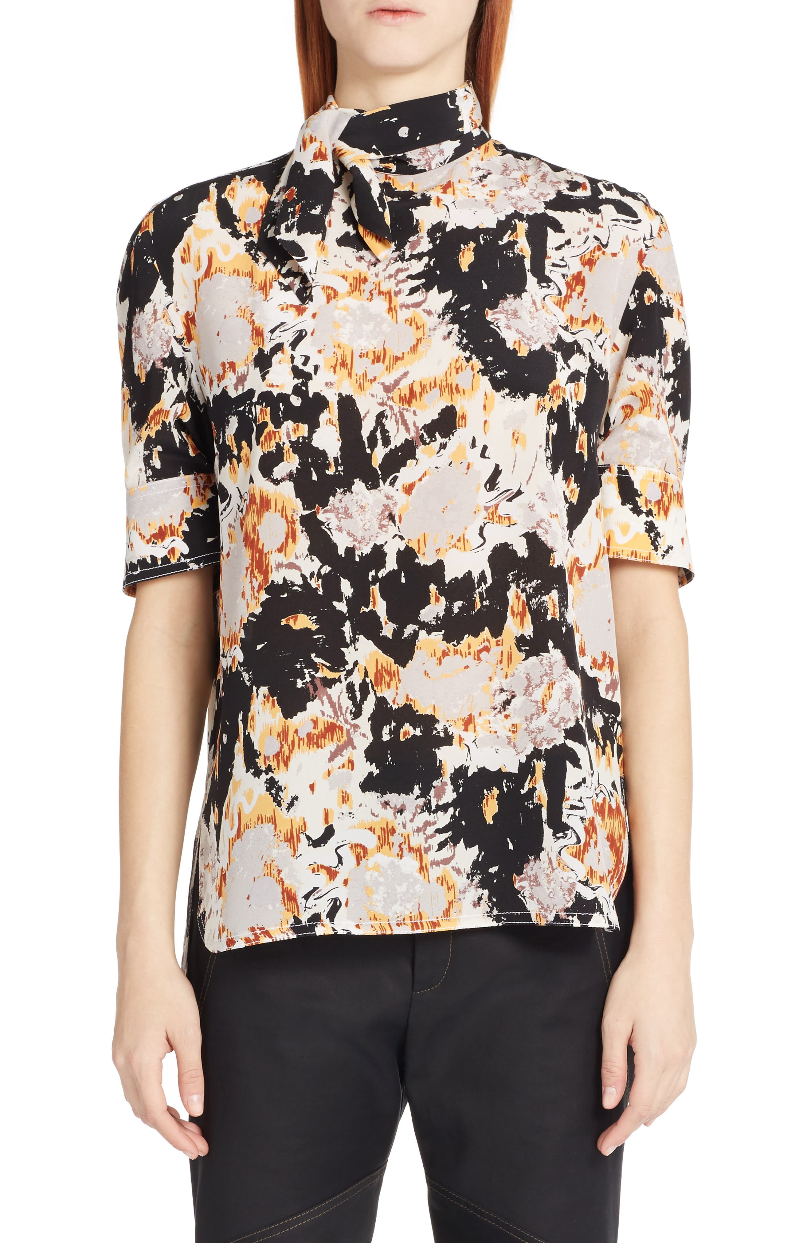 Magma Print Silk Crepe Blouse,                         Main,                         color, 800