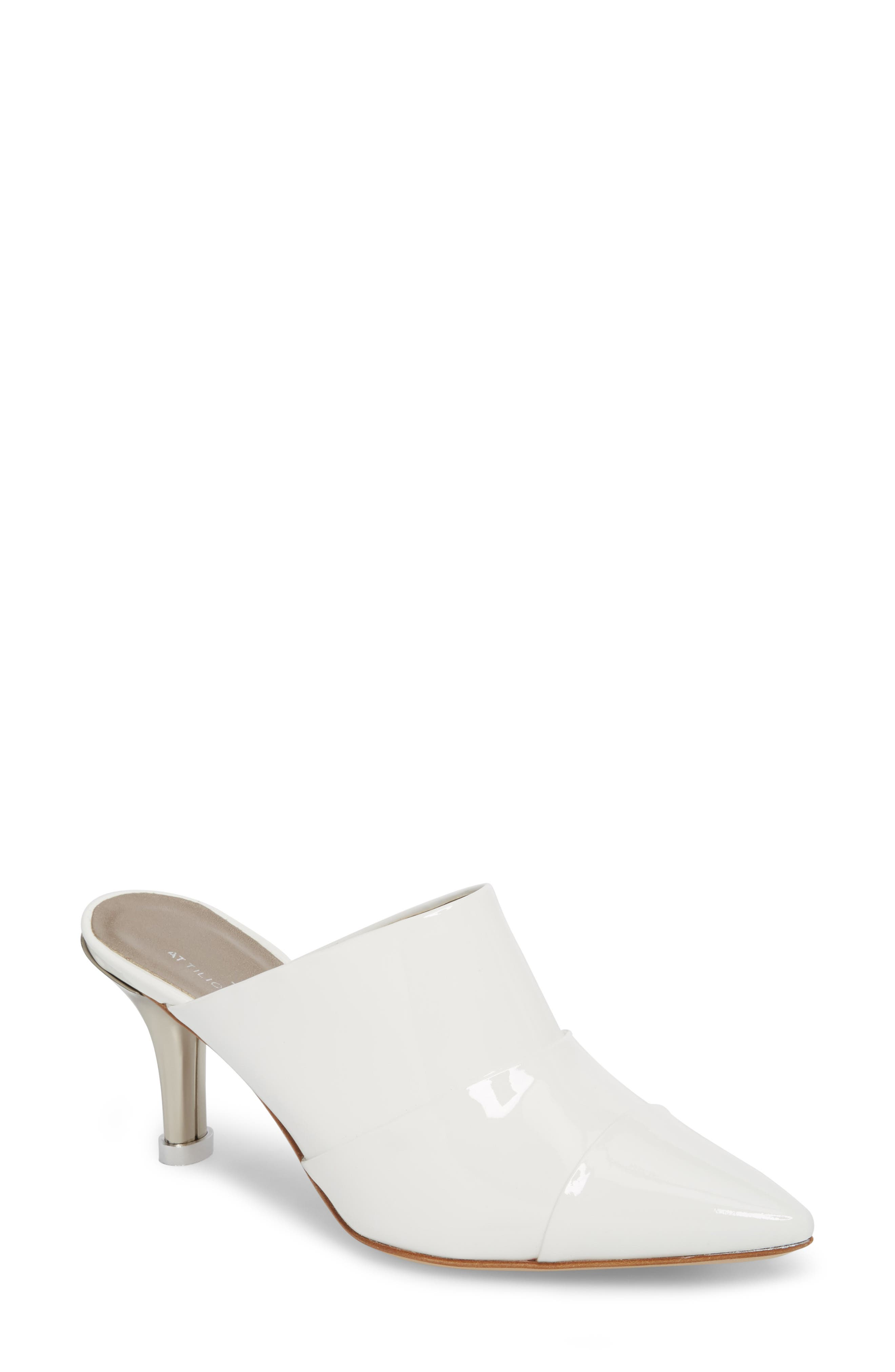 Pointy Toe Mule,                         Main,                         color, WHITE PATENT