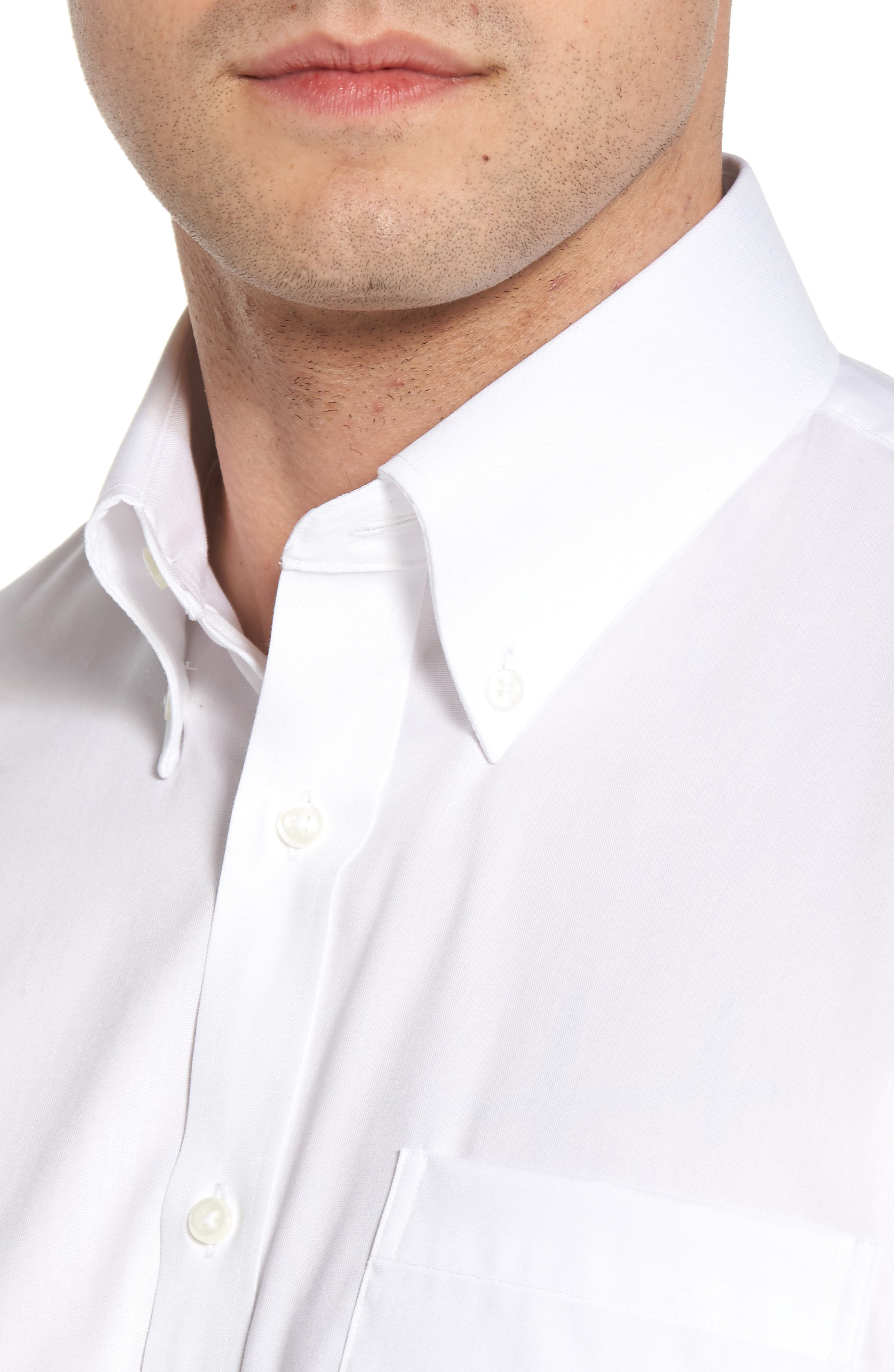 Traditional Fit Non-Iron Short Sleeve Dress Shirt,                             Alternate thumbnail 2, color,                             WHITE