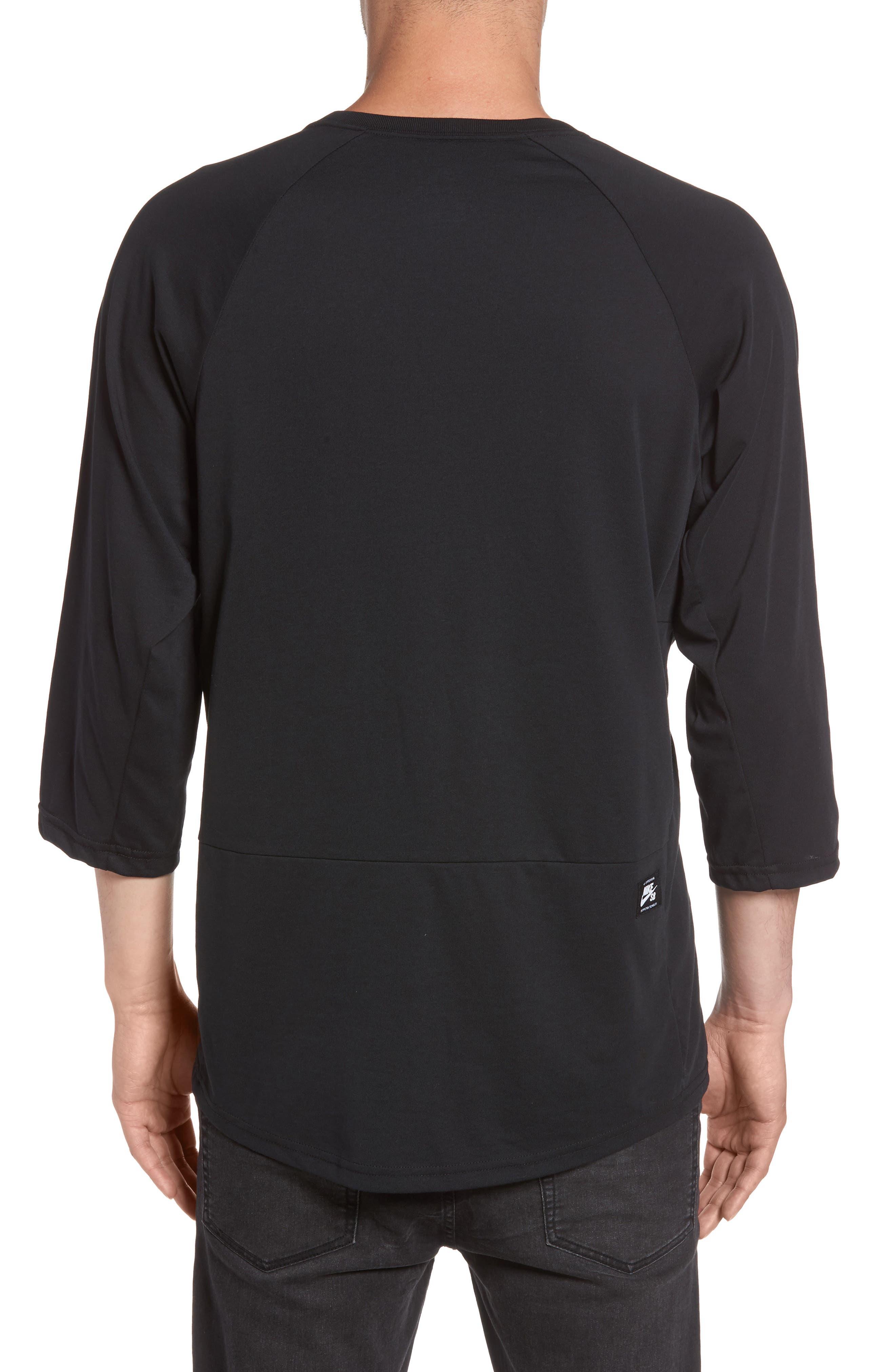 Dry Baseball T-Shirt,                             Alternate thumbnail 2, color,                             BLACK/ BLACK/ WHITE
