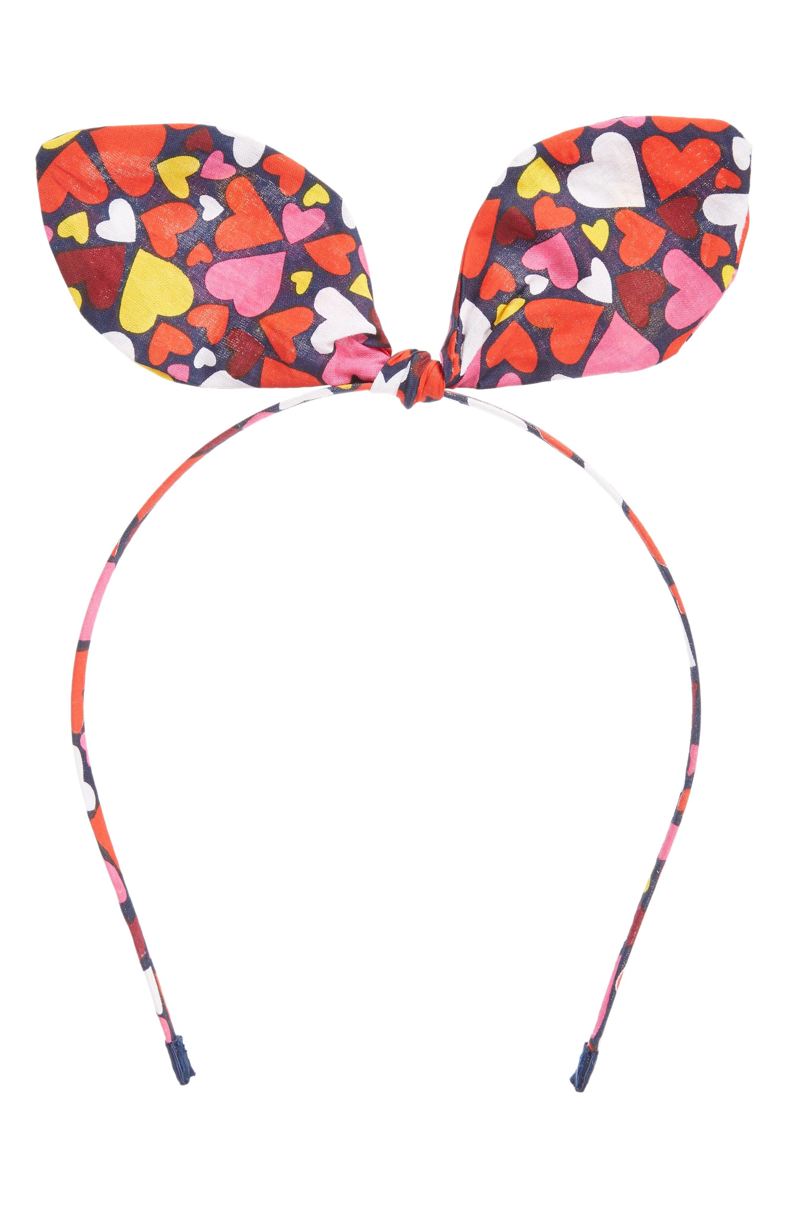 Bow Headband,                             Main thumbnail 1, color,                             NAVY DENIM MULTI HEARTS