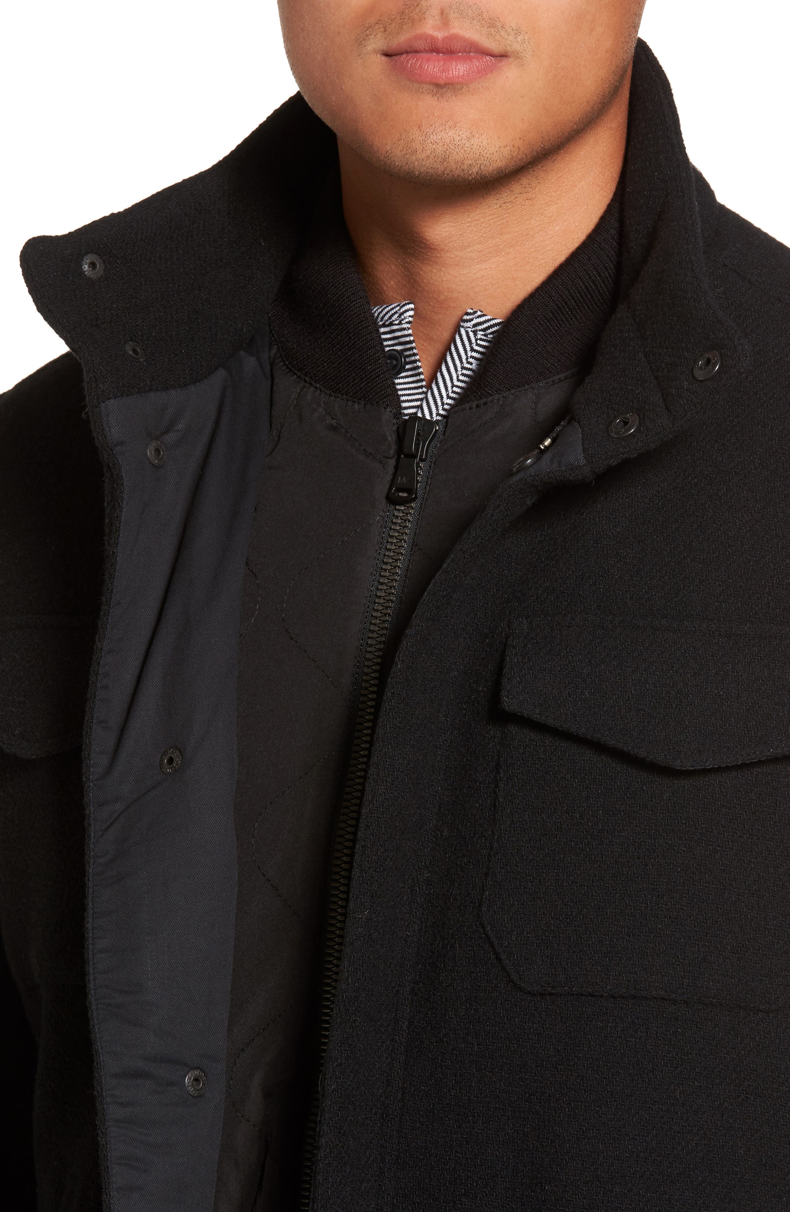 Regular Fit Double Layer Field Jacket,                             Alternate thumbnail 4, color,                             001