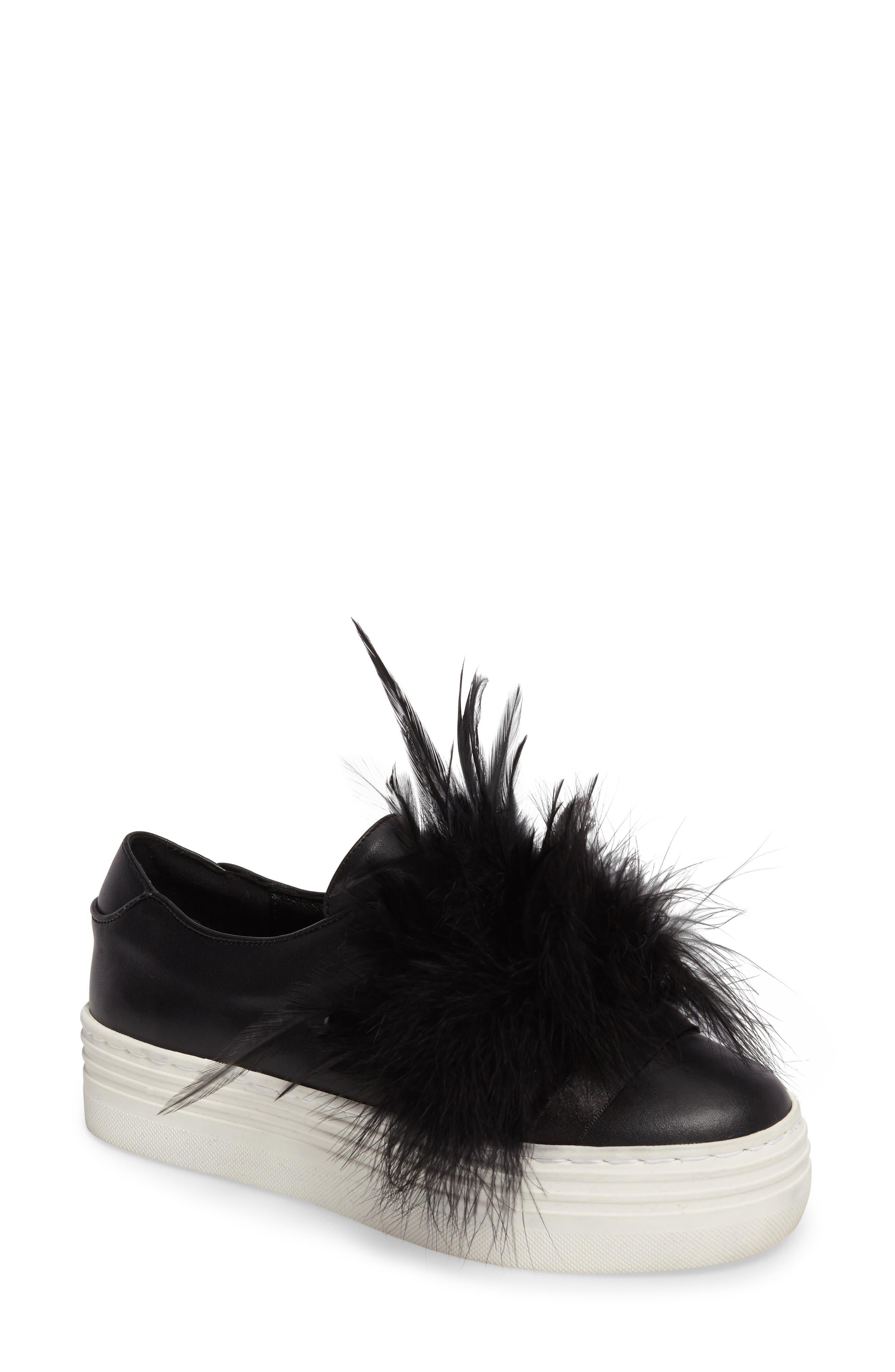 Lily Feather Pom Slip-On Platform Sneaker,                         Main,                         color, 001