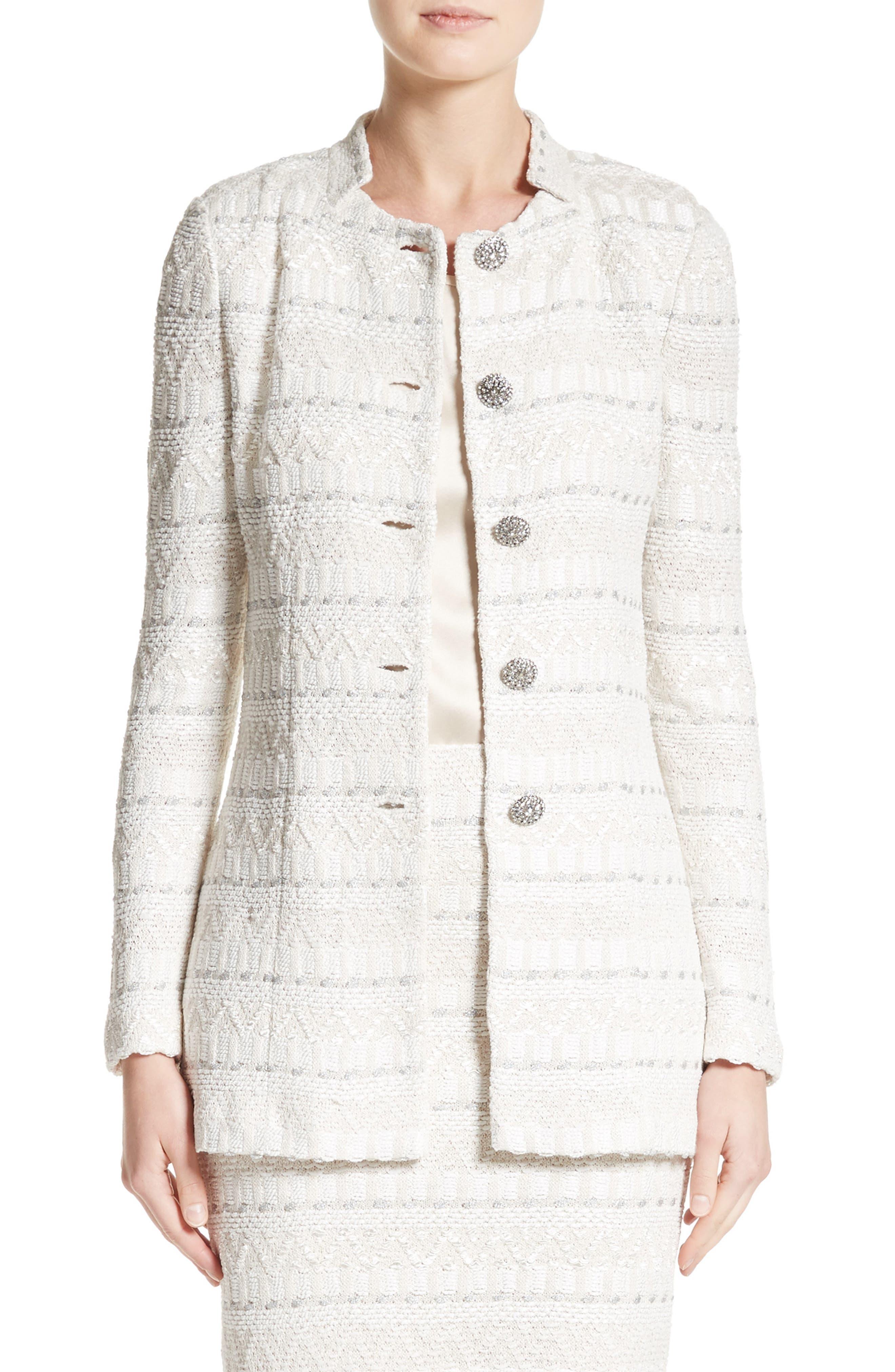 Samar Knit Tweed Jacket,                             Main thumbnail 1, color,                             100