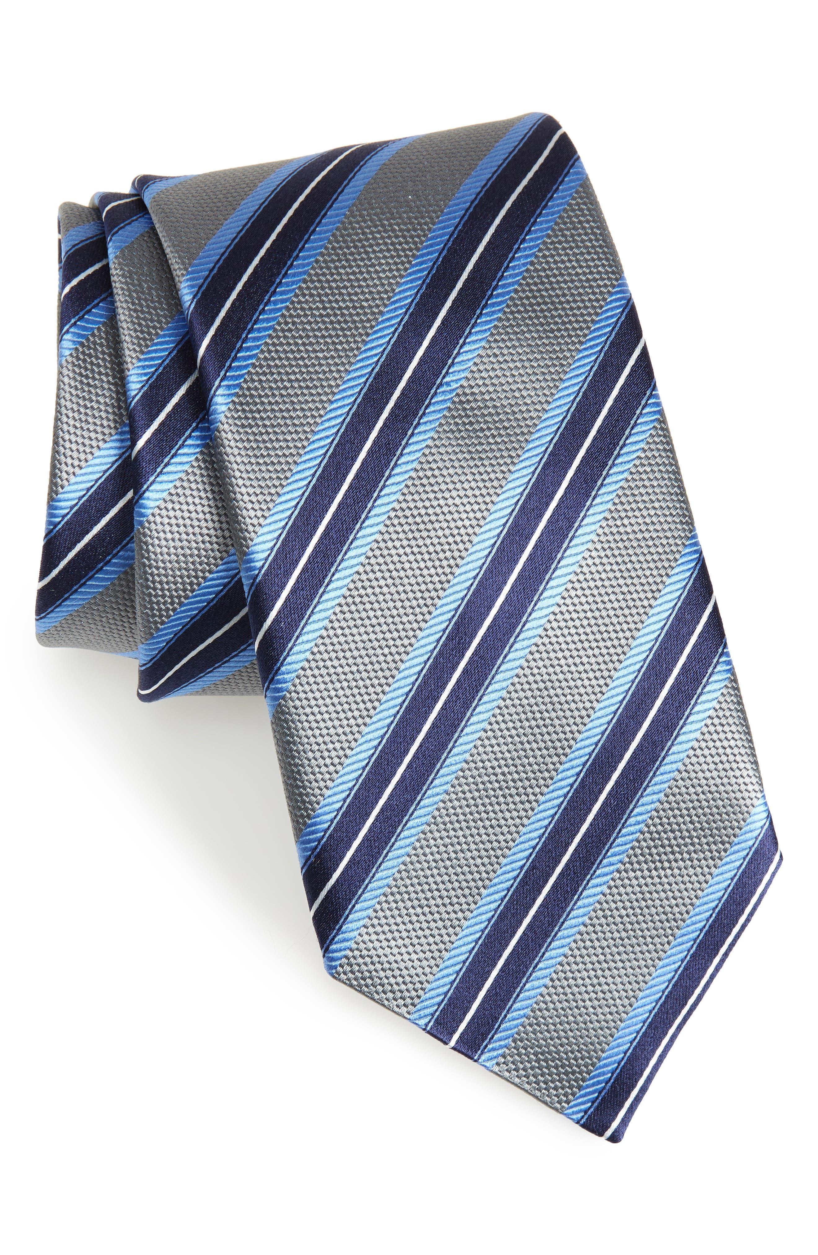 Stripe Silk Tie,                         Main,                         color, 020