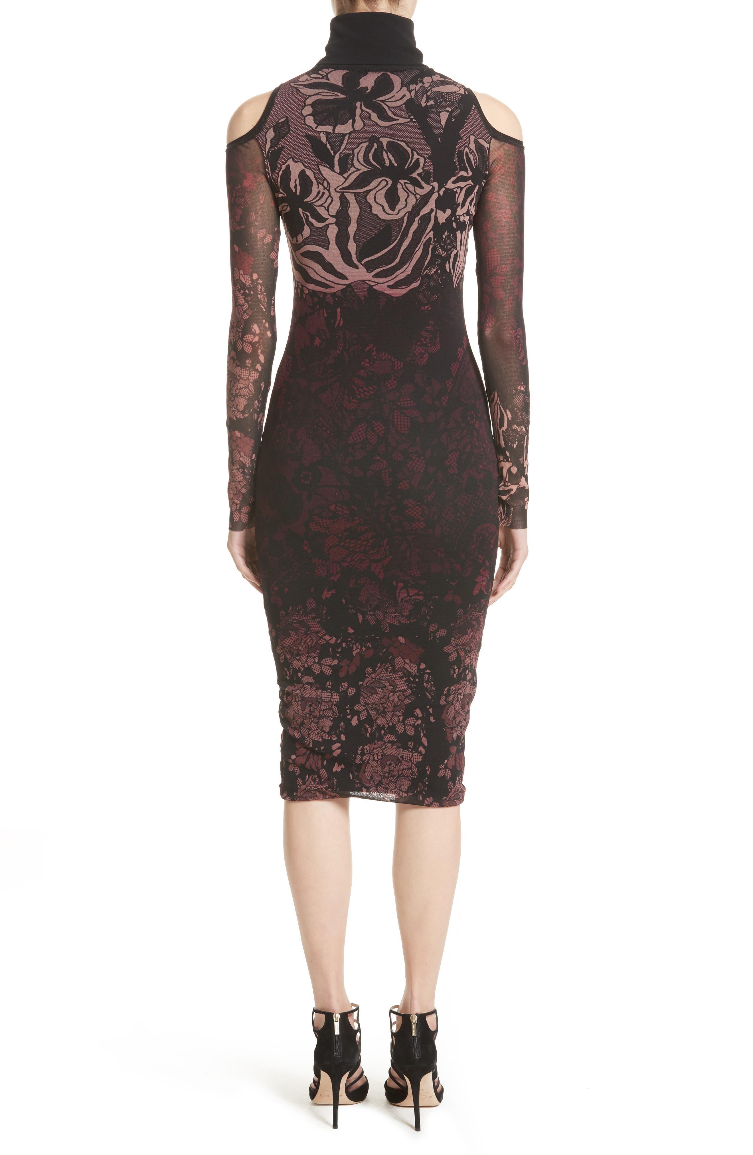 Cold Shoulder Tulle Turtleneck Dress,                             Alternate thumbnail 2, color,