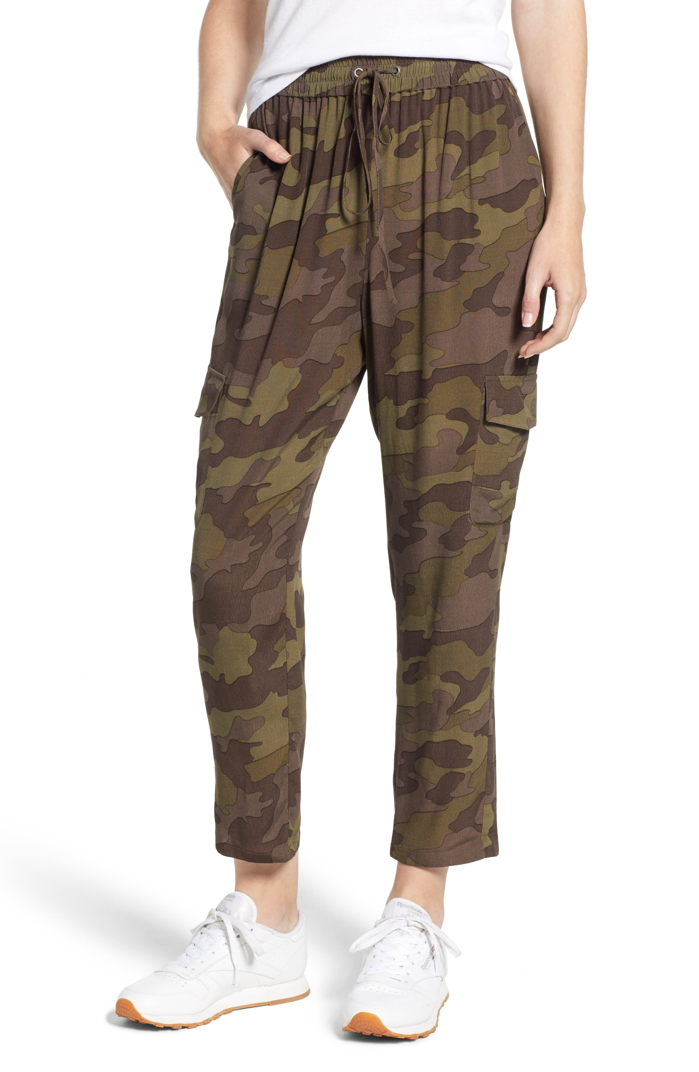 High Rise Camouflage Cargo Pants,                             Main thumbnail 1, color,                             210