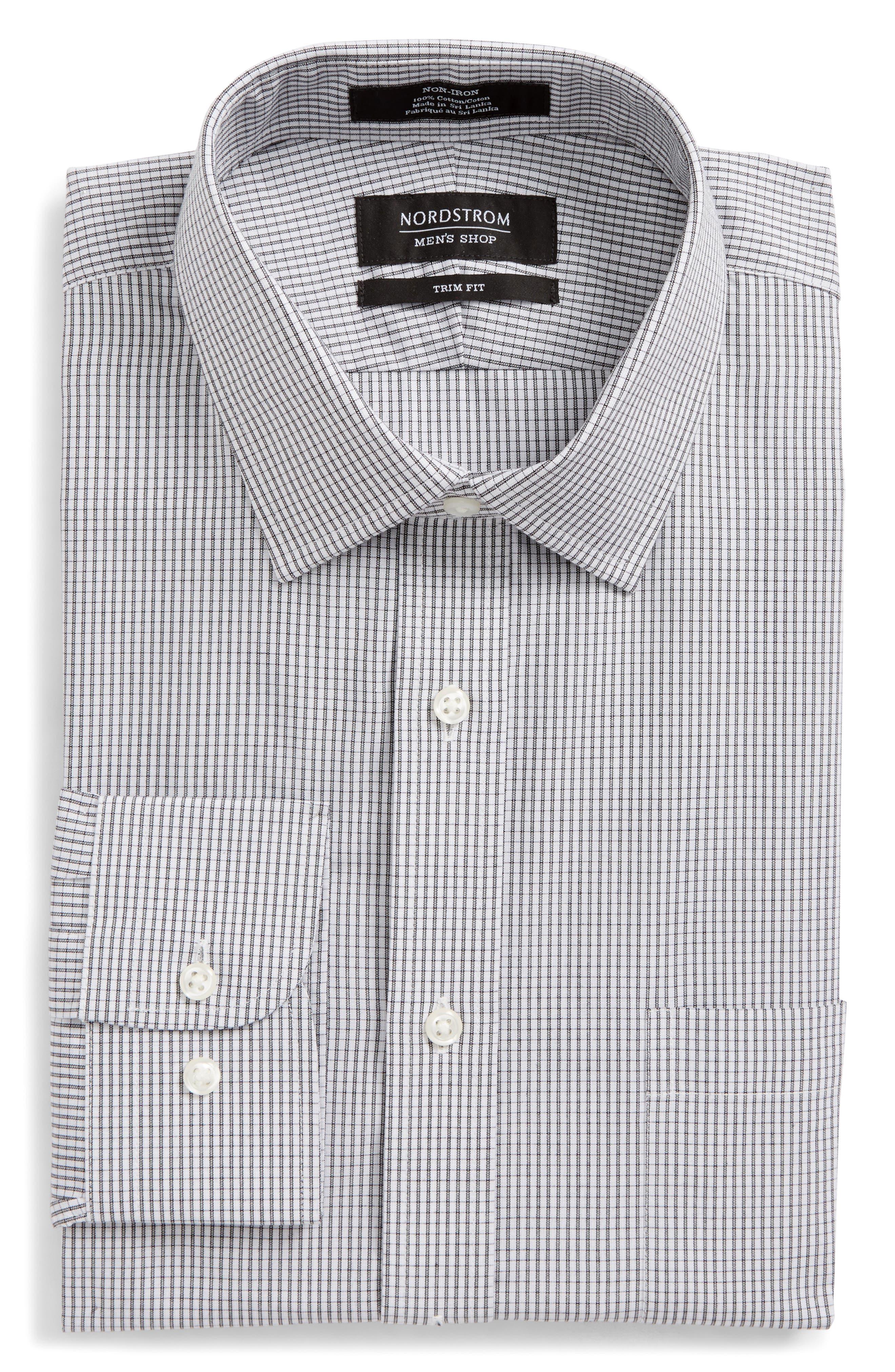 Trim Fit Non-Iron Check Dress Shirt,                             Alternate thumbnail 5, color,                             001