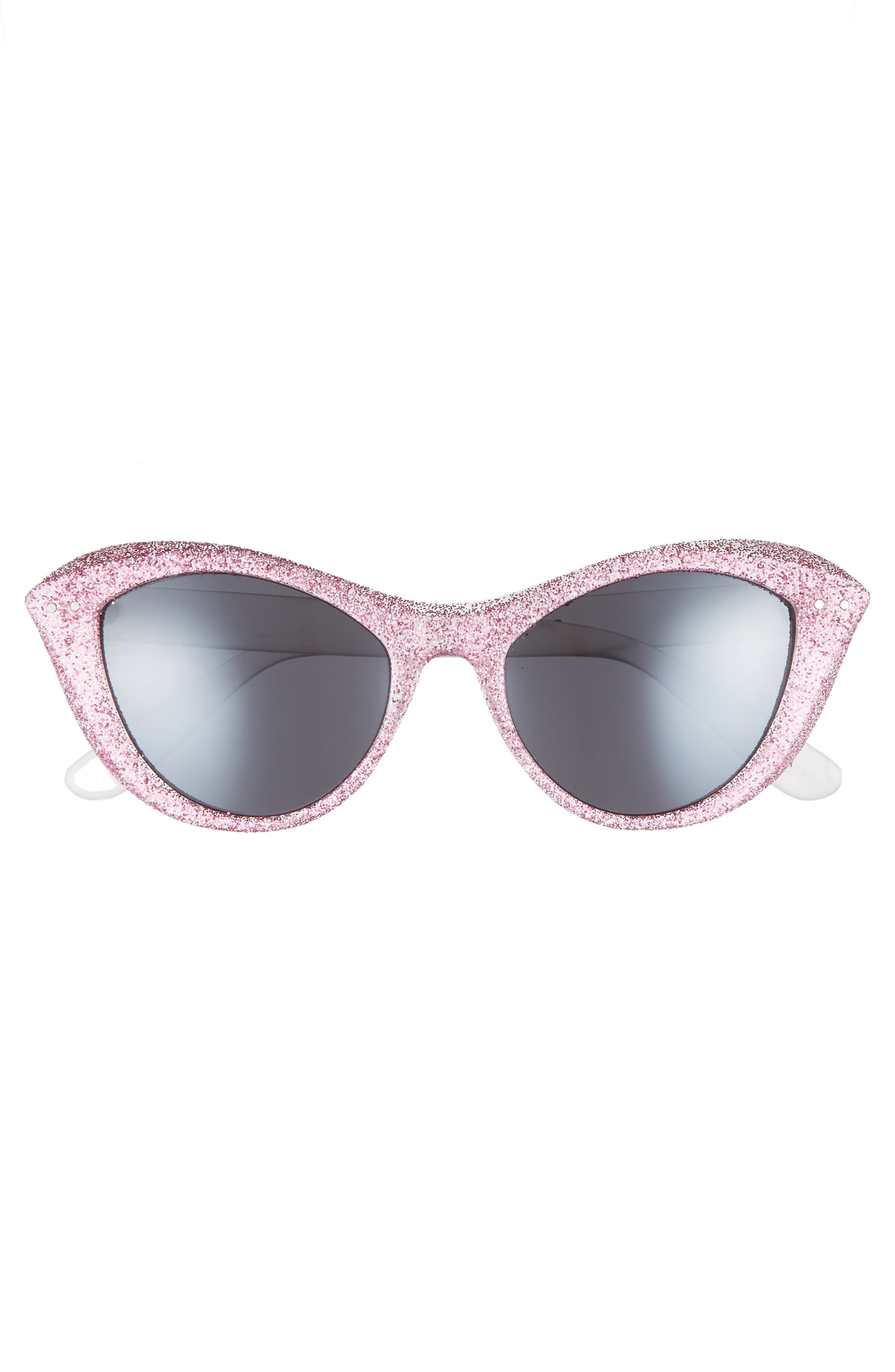 50mm Retro Cat Eye Sunglasses,                             Alternate thumbnail 3, color,                             100