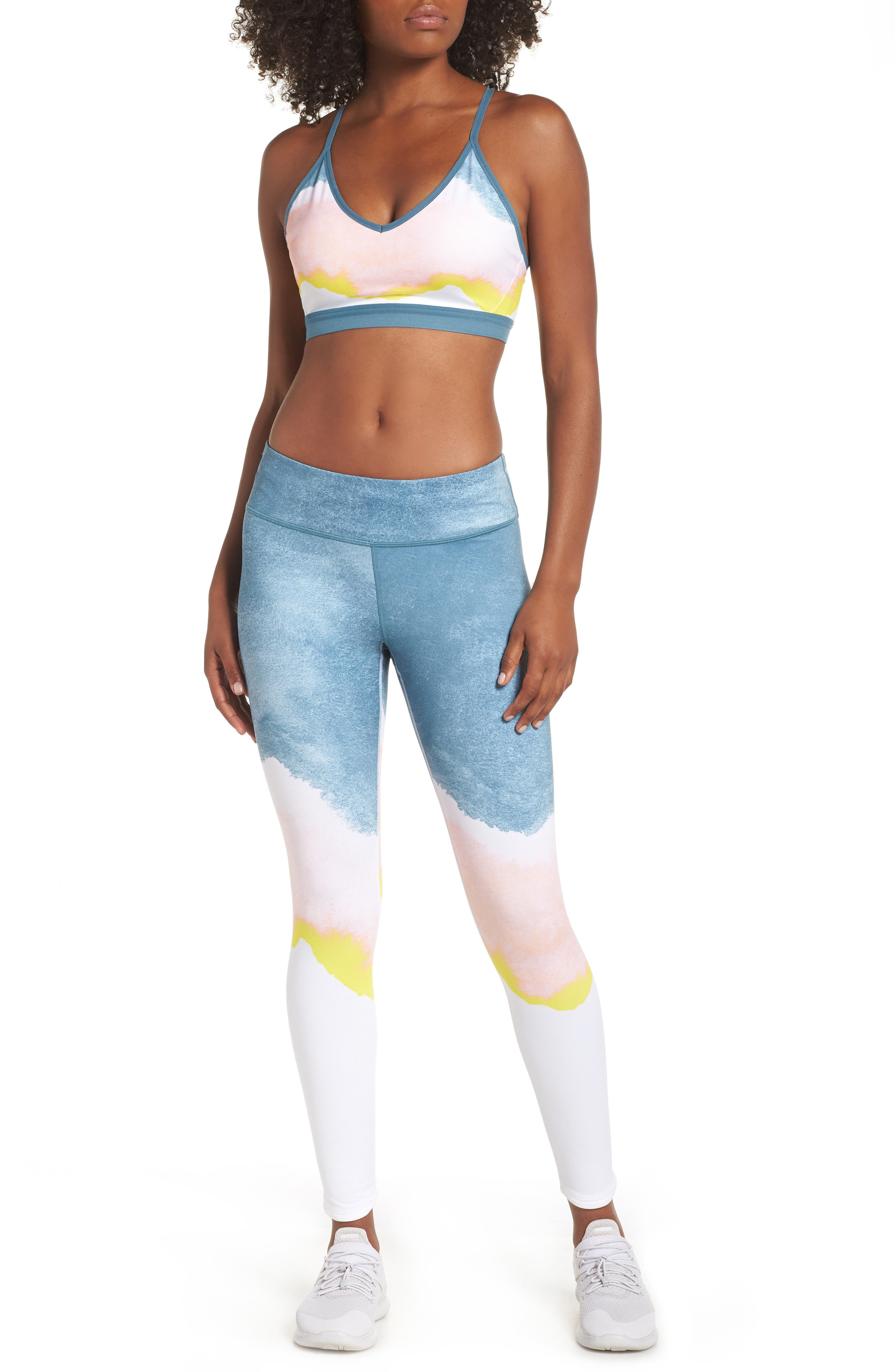 Indy Artist Sports Bra,                             Alternate thumbnail 9, color,                             WHITE/ CELESTIAL TEAL/ WHITE