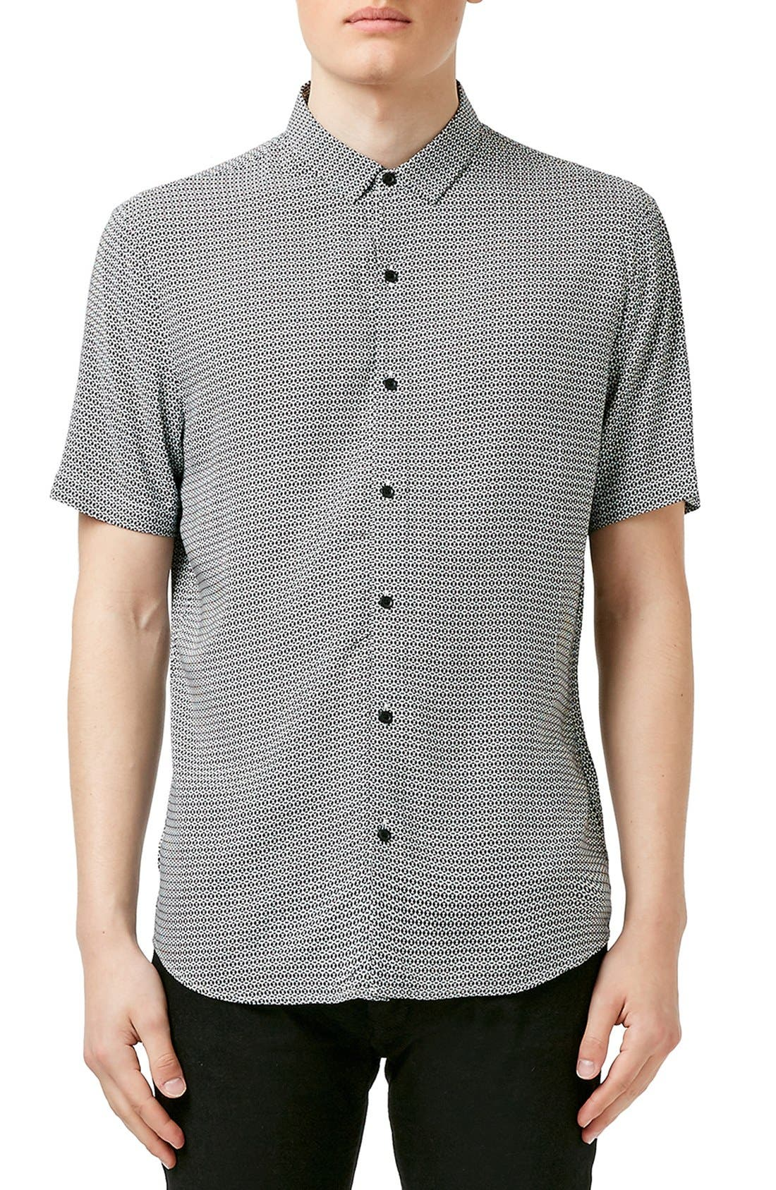 Slim Fit Short Sleeve Geo Print Shirt,                         Main,                         color, 001