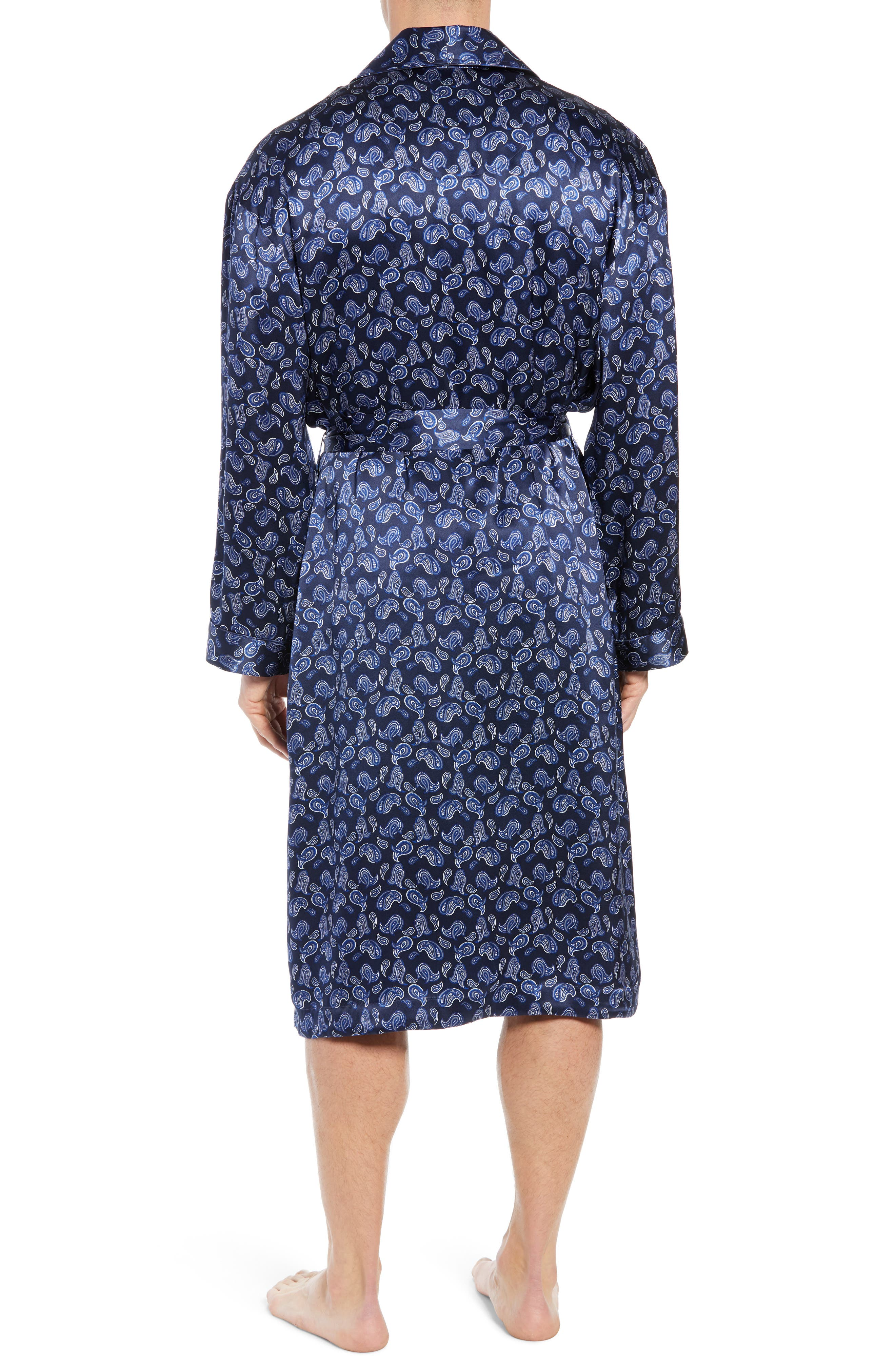 Sapphire Silk Robe,                             Alternate thumbnail 2, color,                             NAVY PAISLEY