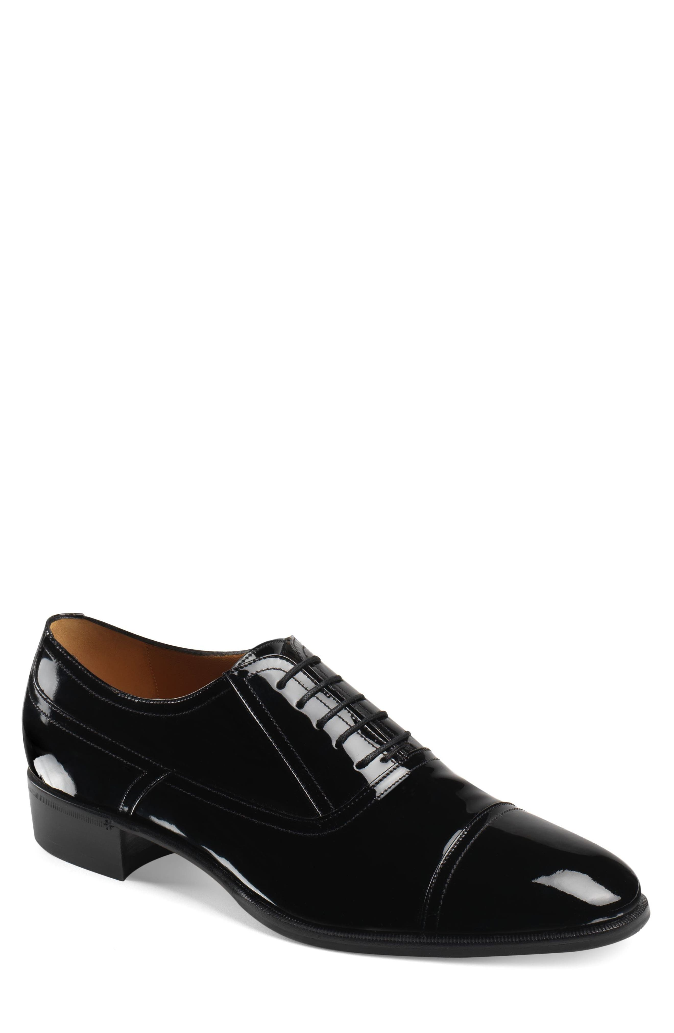 Men'S Patent Leather Lace-Up Shoes in Nero/Nero