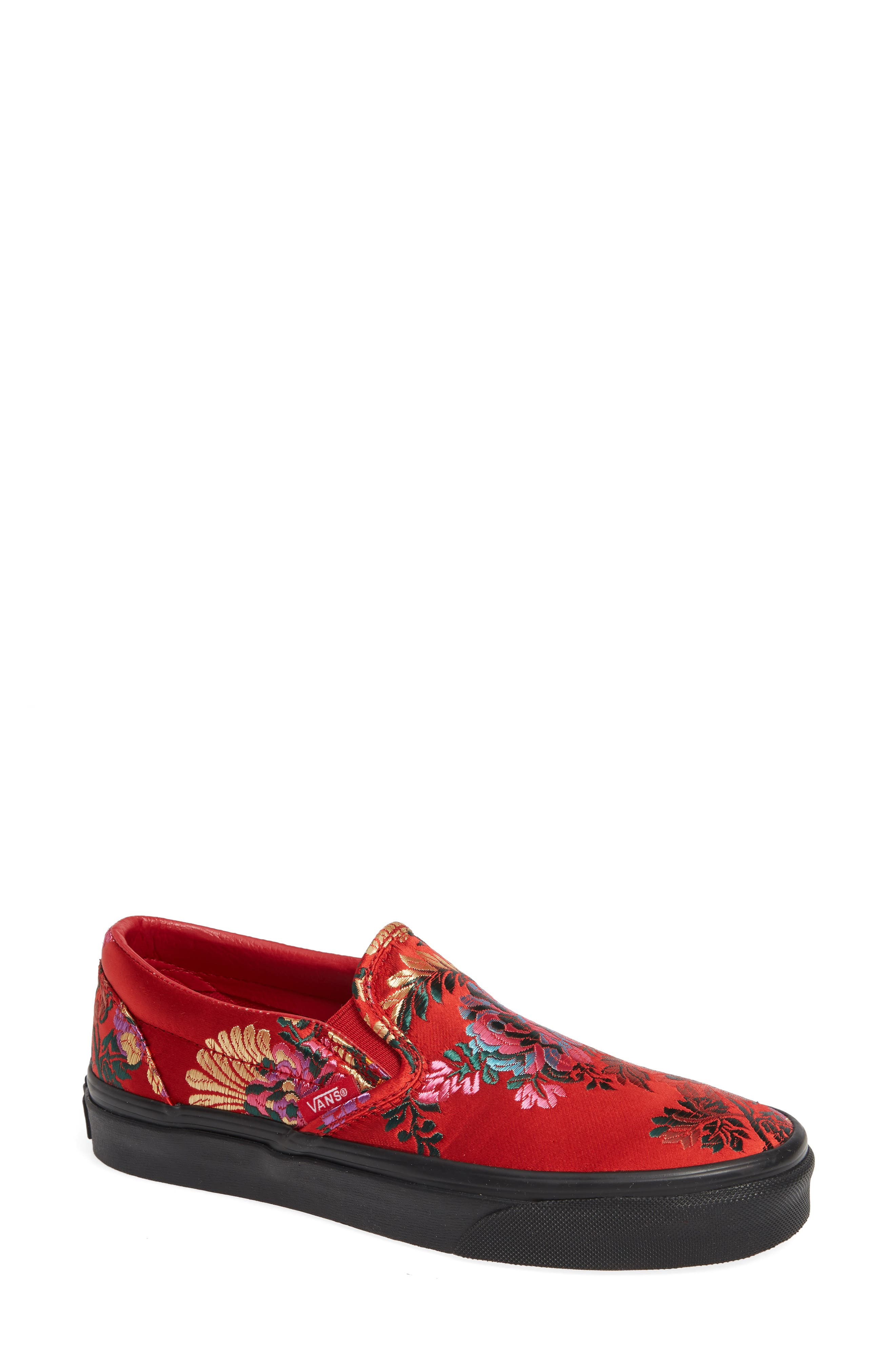 Classic Embroidered Satin Slip-On Sneaker,                             Main thumbnail 1, color,                             RED/ BLACK