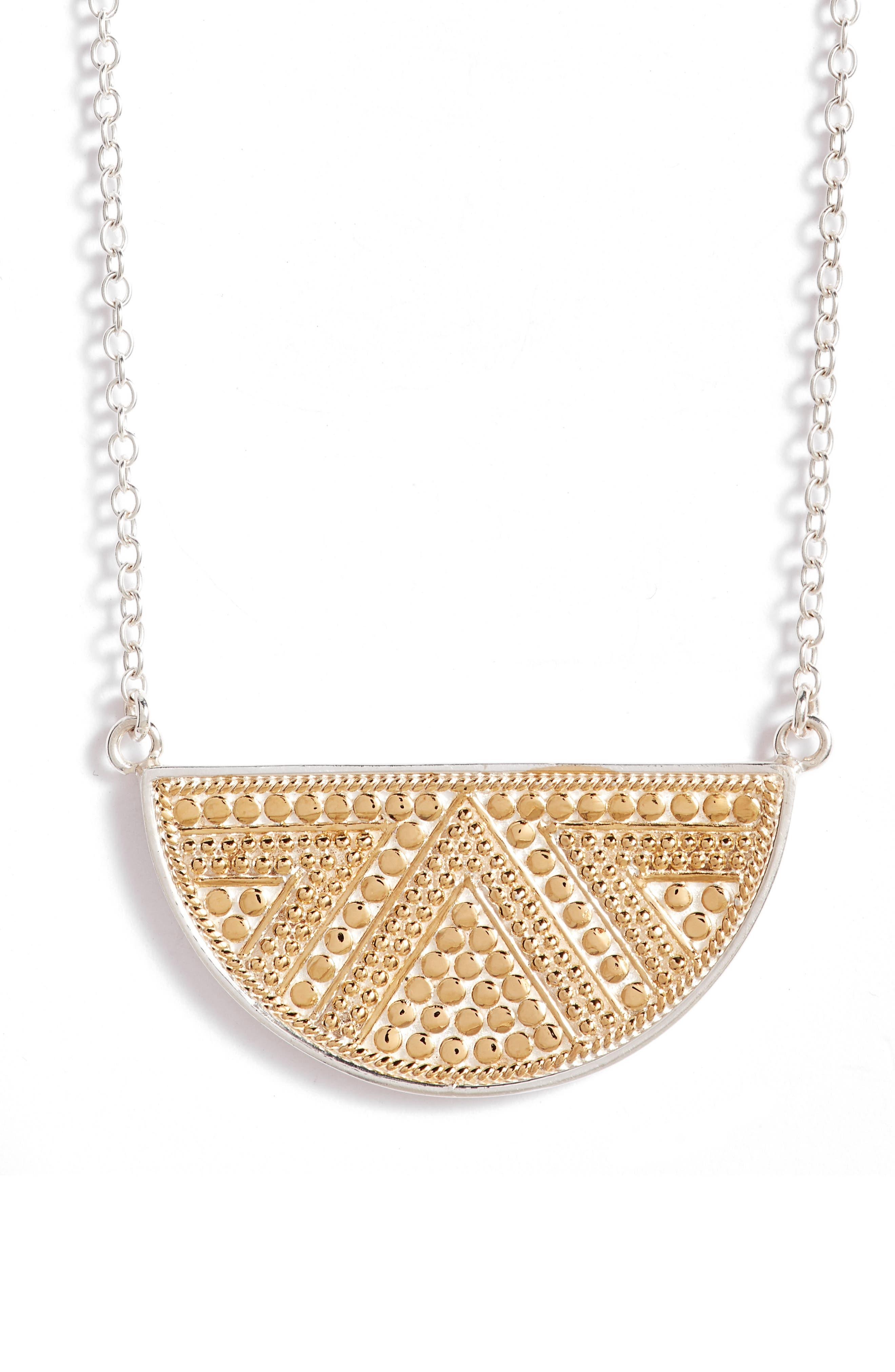 Reversible Pendant Necklace,                         Main,                         color, GOLD/ SILVER