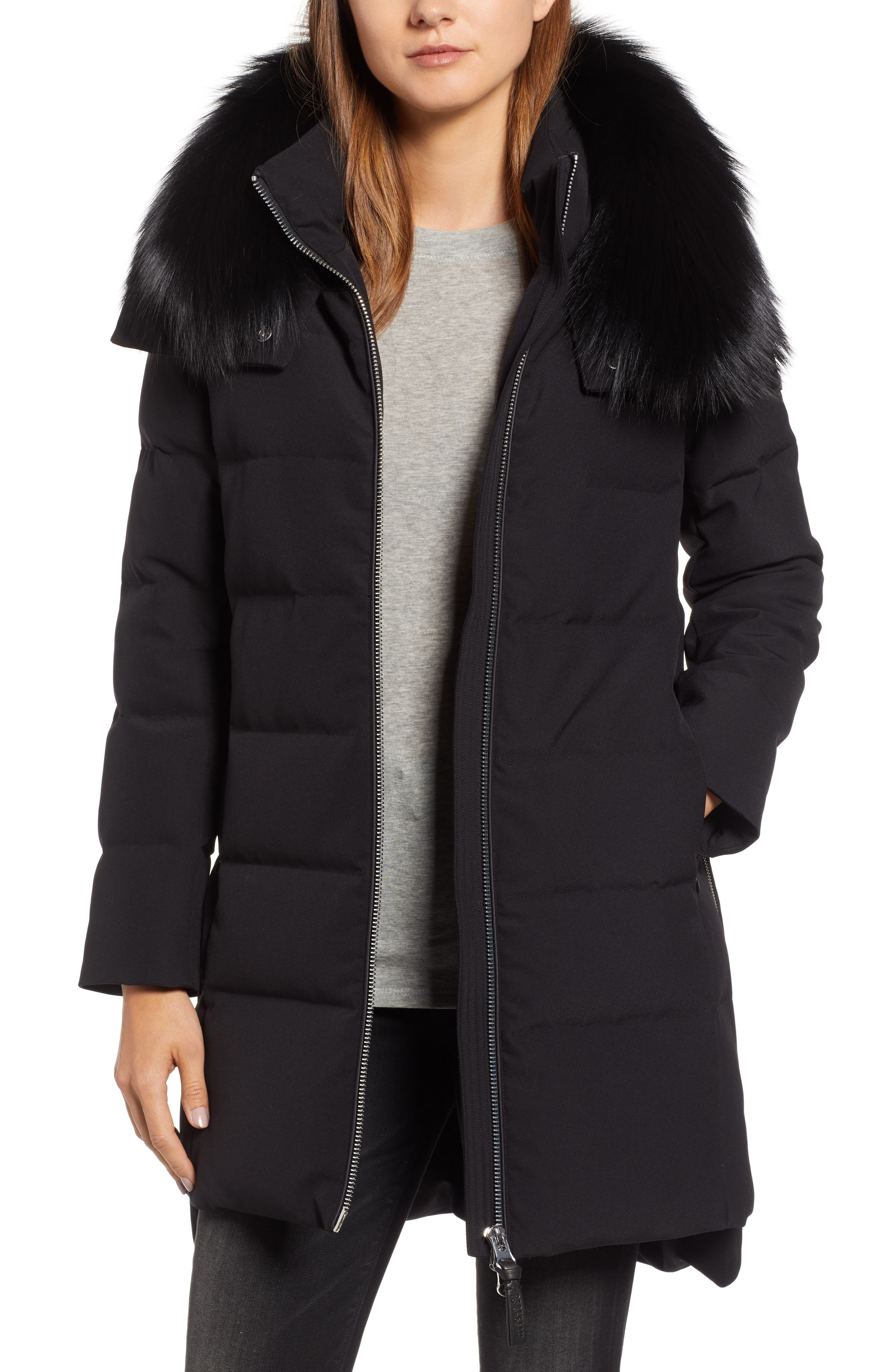 Derek Lam 10 Crosby Allover Stretch Down Coat With Genuine Fox Fur Trim