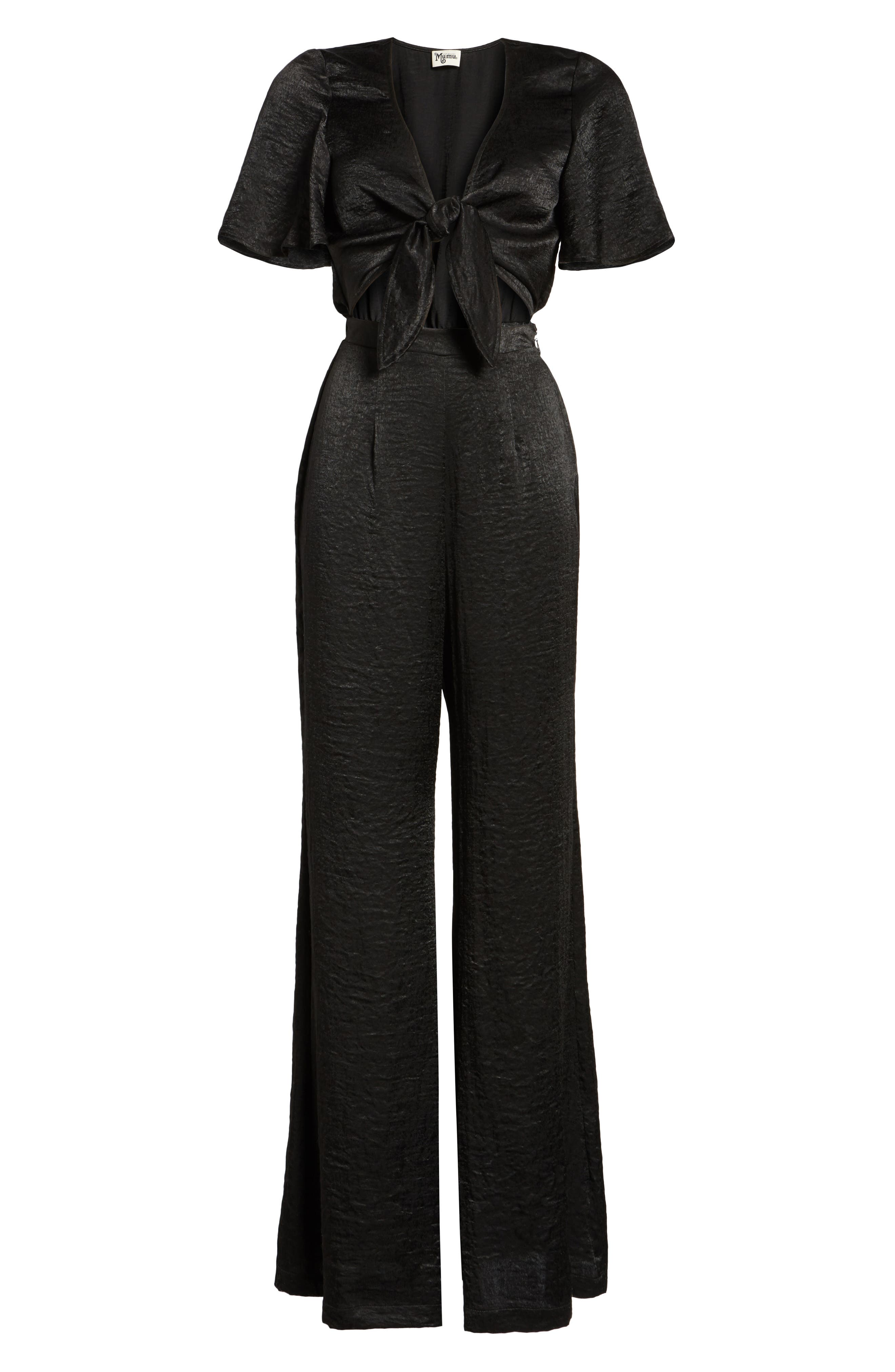 Jenna Tie Waist Jumpsuit,                             Alternate thumbnail 6, color,                             001