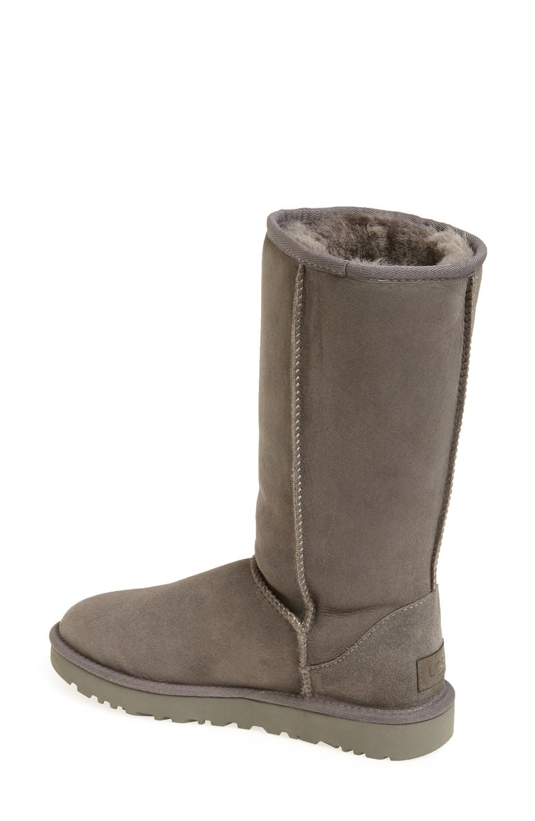 'Classic II' Genuine Shearling Lined Tall Boot,                             Alternate thumbnail 2, color,                             GREY SUEDE