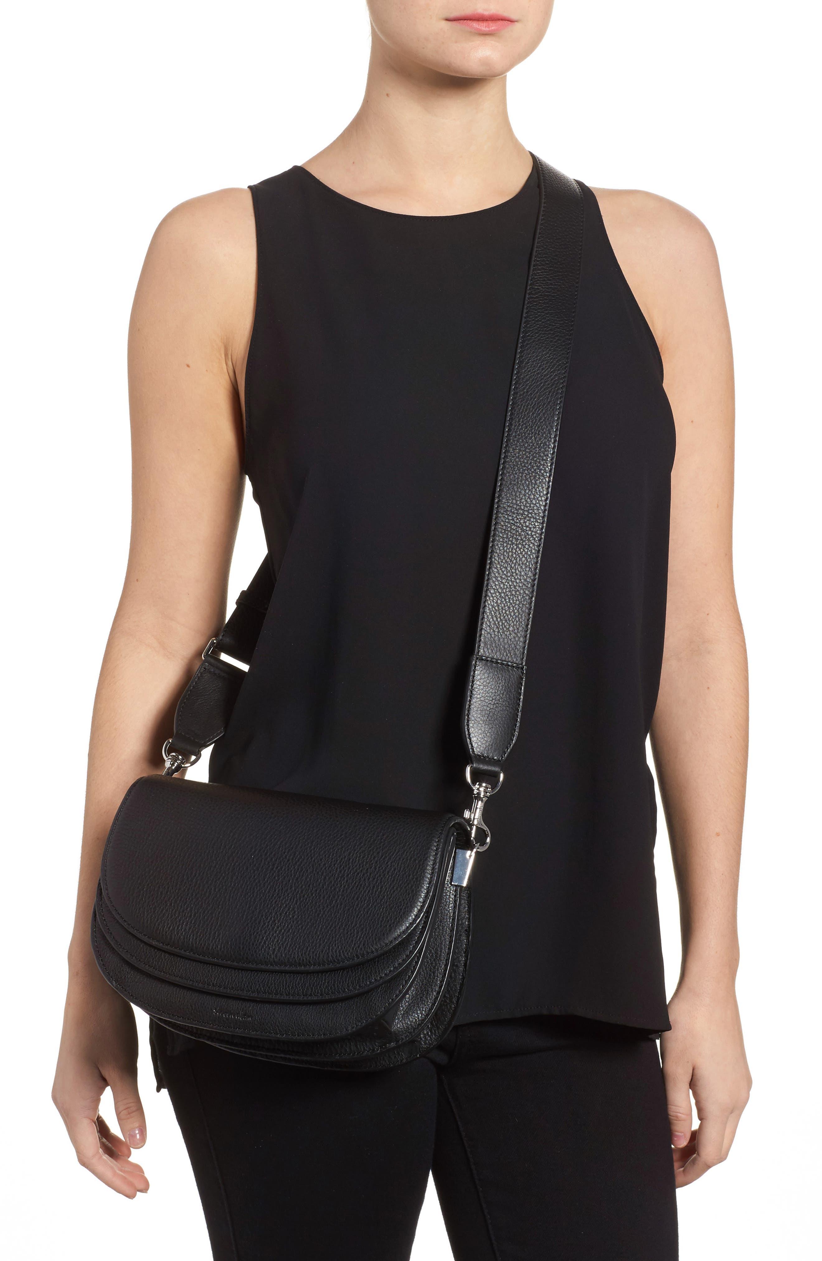 Landon Leather Crossbody Saddle Bag,                             Alternate thumbnail 5, color,
