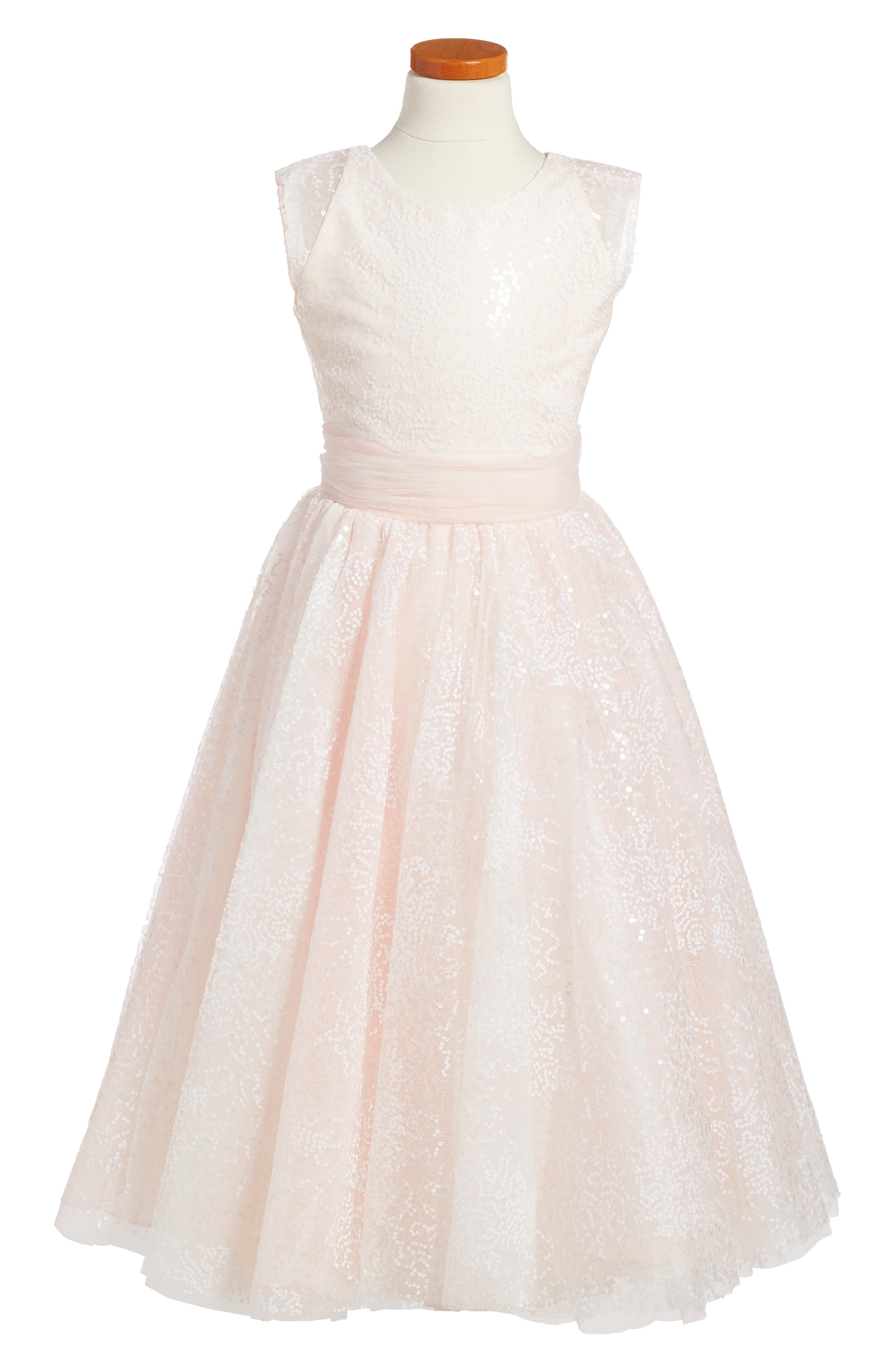 Sequin Tulle Dress,                         Main,                         color, IVORY/ PINK