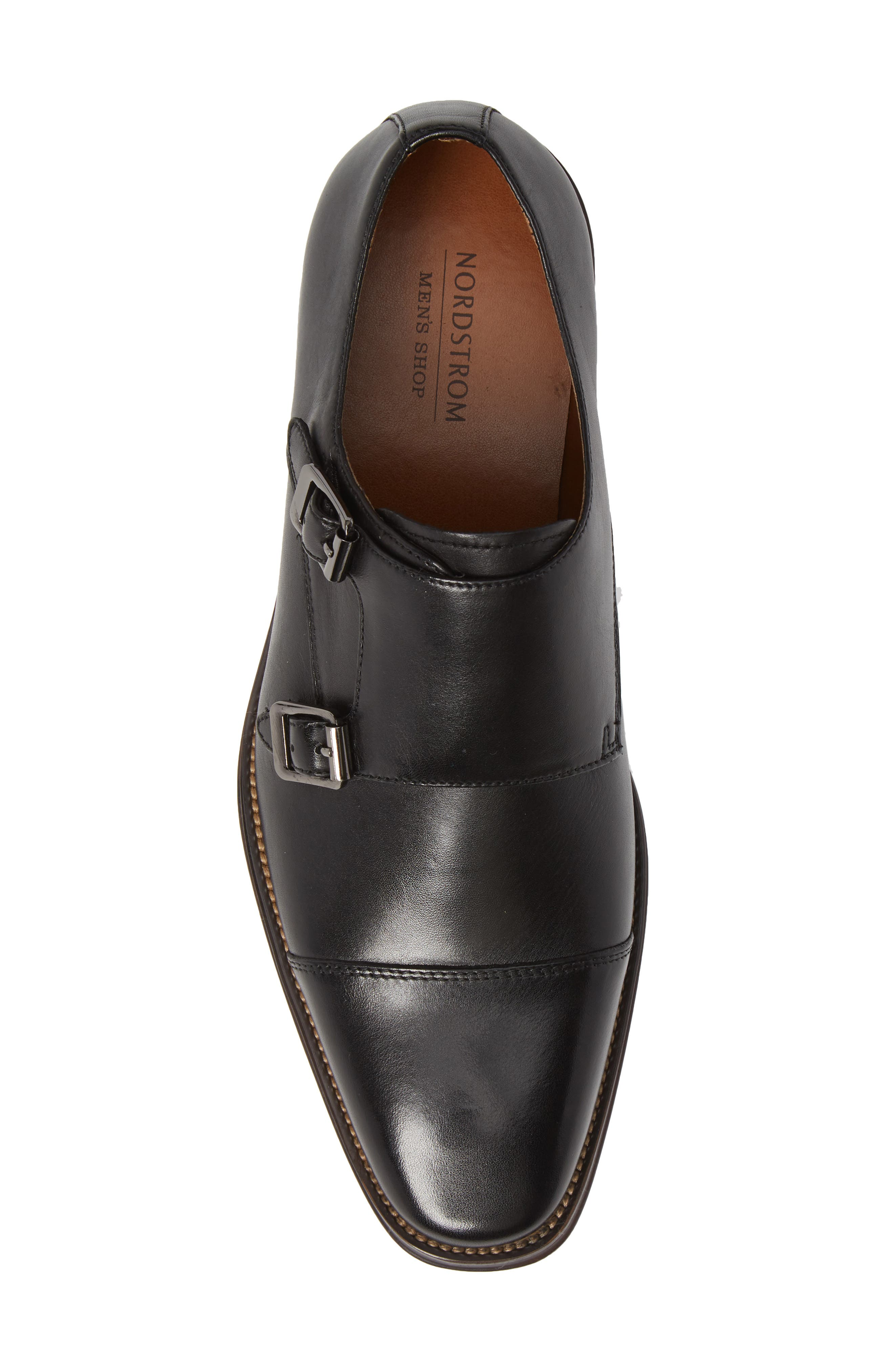 Remy Monk Strap Slip-On,                             Alternate thumbnail 5, color,                             BLACK LEATHER