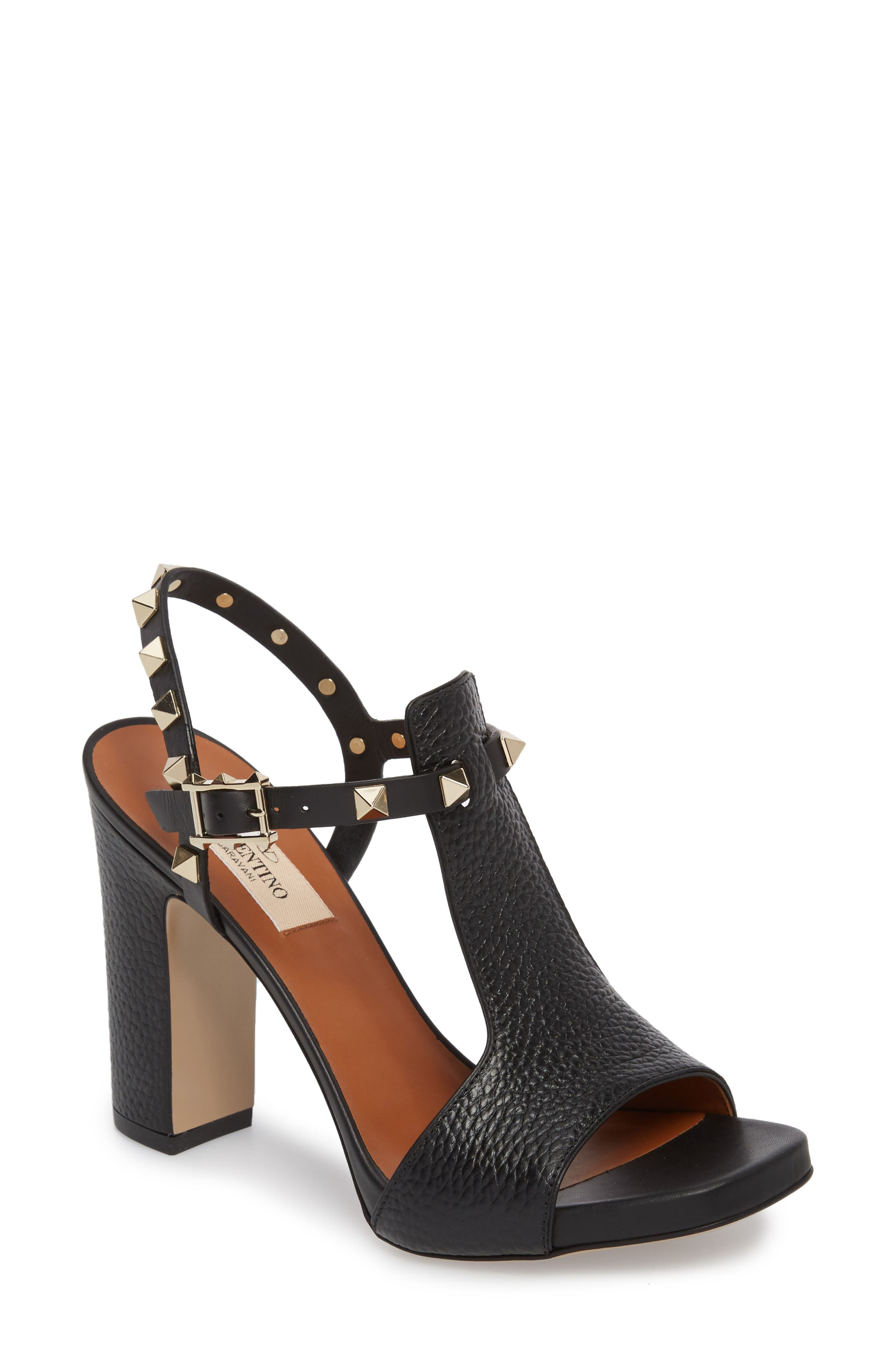 Rockstud T-Strap Sandal,                             Main thumbnail 1, color,                             BLACK LEATHER