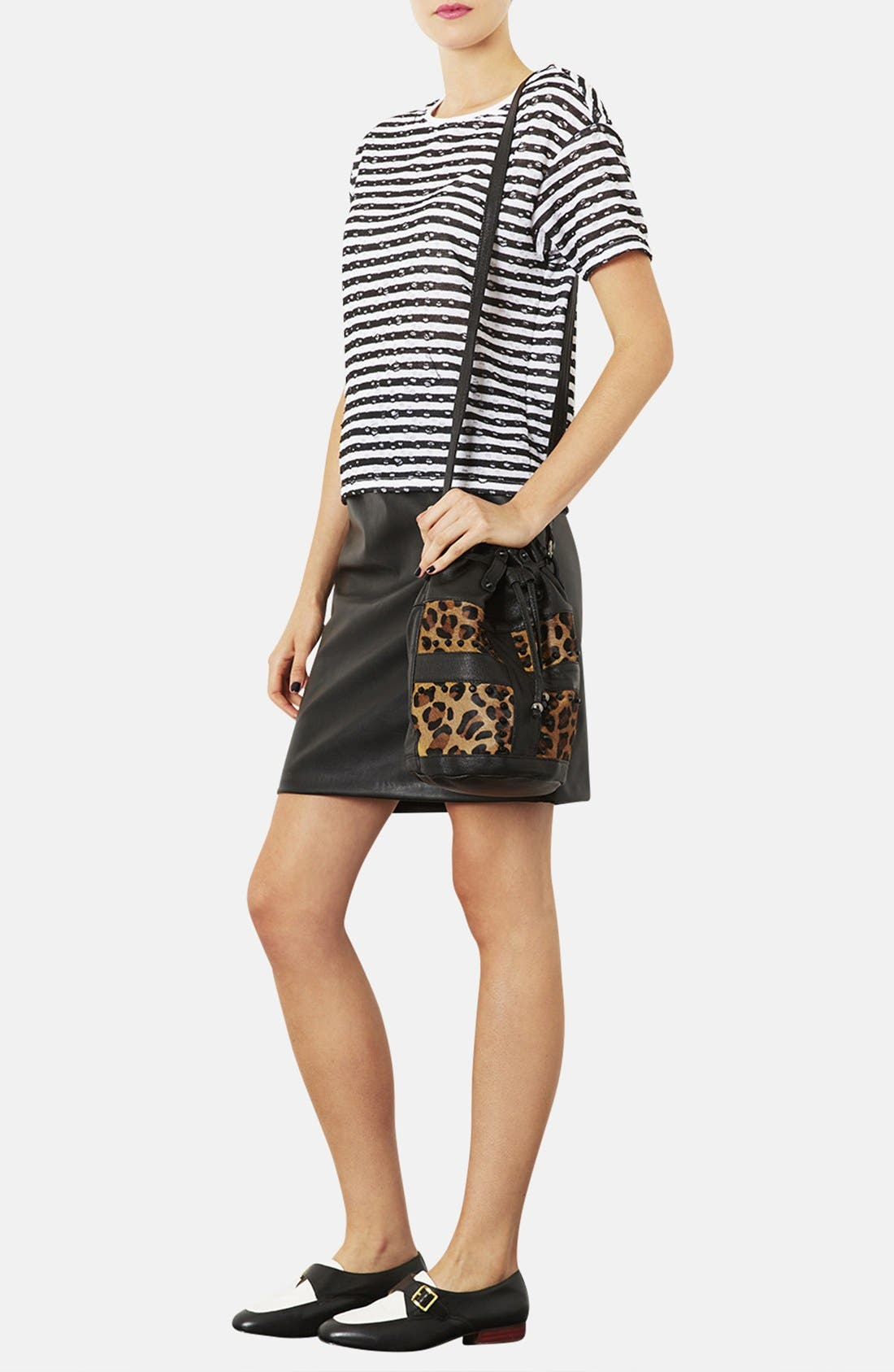 TOPSHOP,                             Leopard Print Crossbody Bag,                             Alternate thumbnail 3, color,                             200
