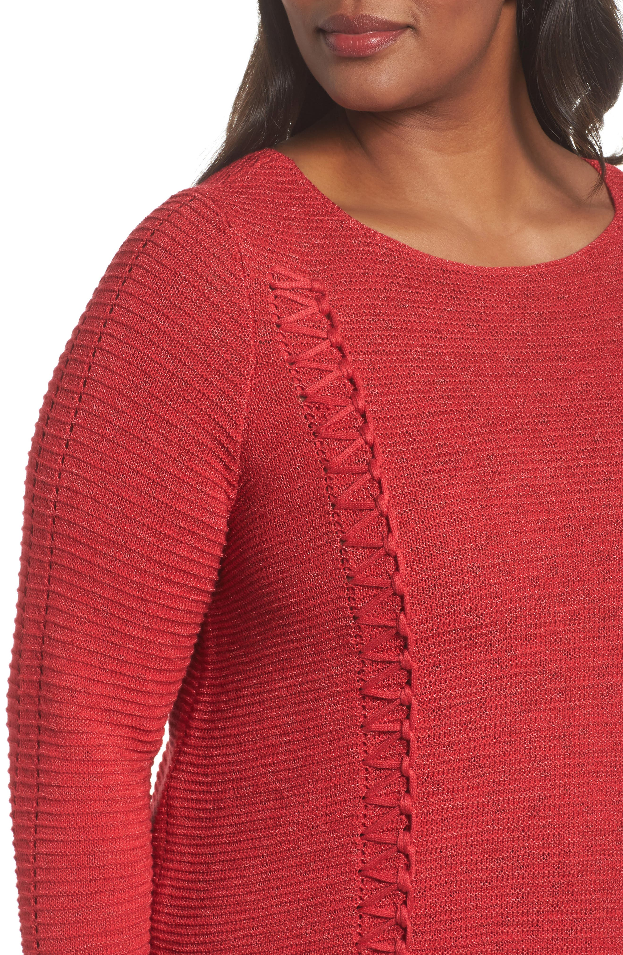Braided Up Sweater,                             Alternate thumbnail 4, color,                             TRUE RED