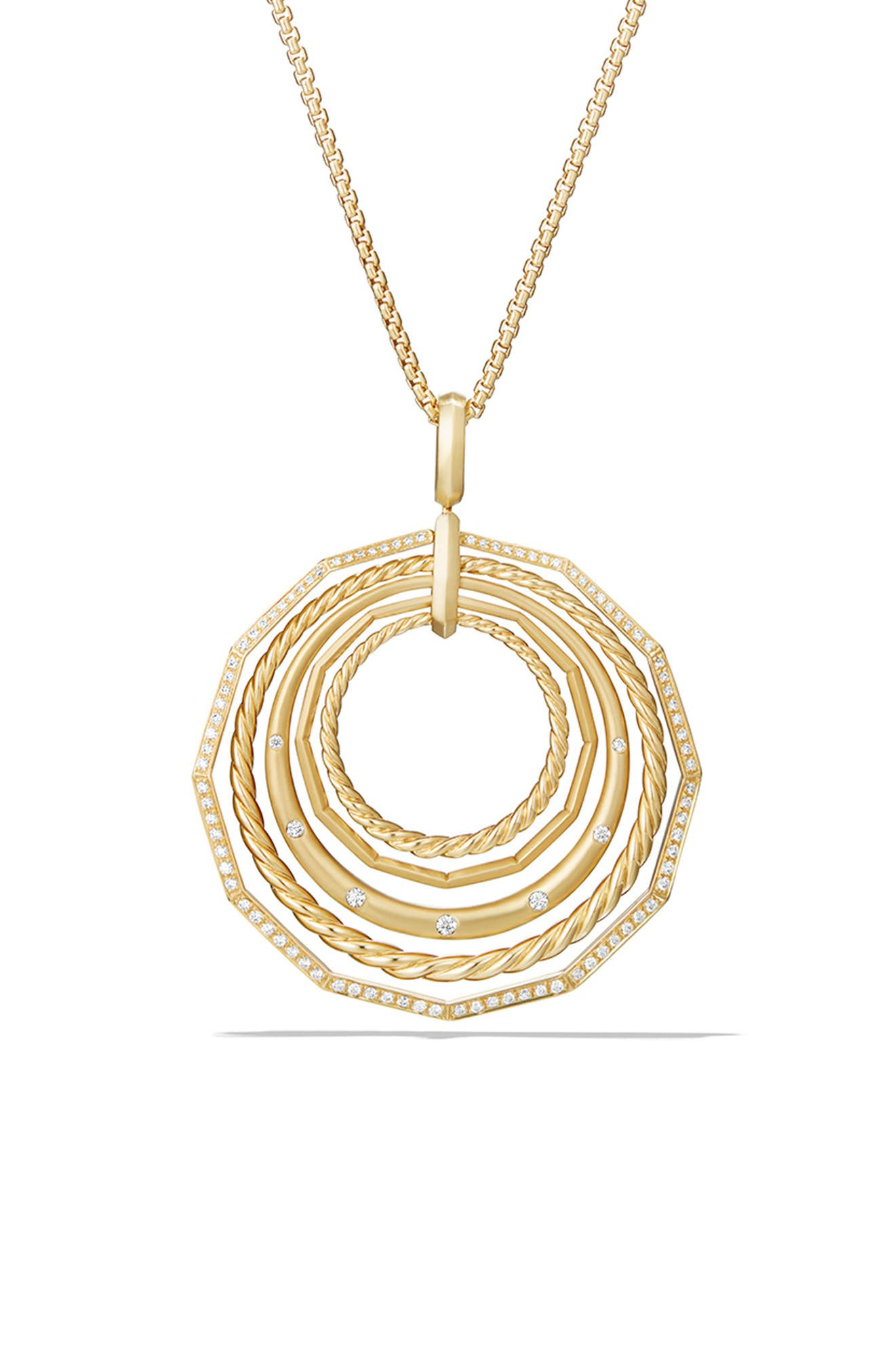 Stax Long Pendant 18K Necklace with Diamonds, 41mm, Main, color, YELLOW GOLD