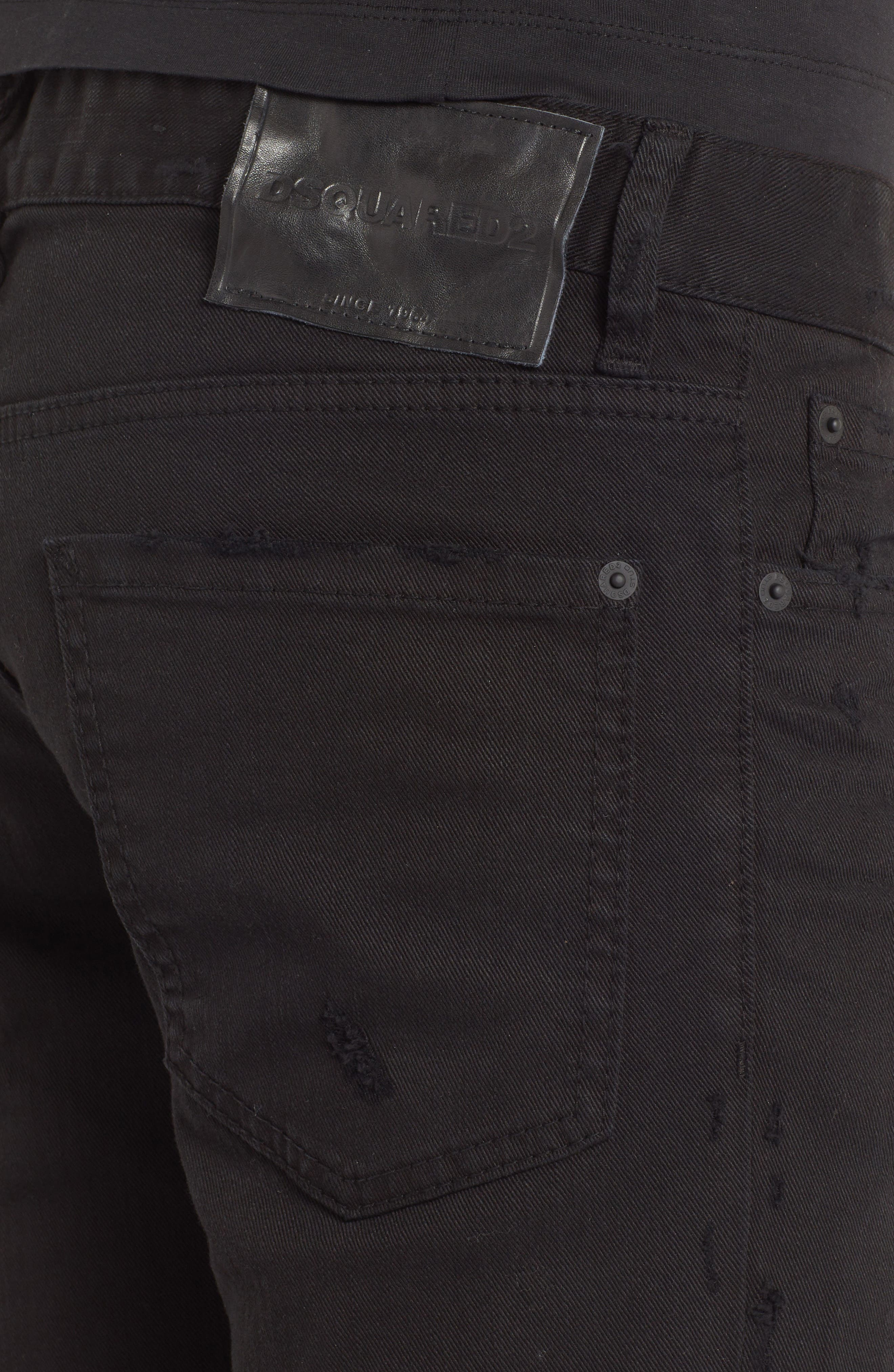 Destroyed Slim Fit Jeans,                             Alternate thumbnail 4, color,                             BLACK