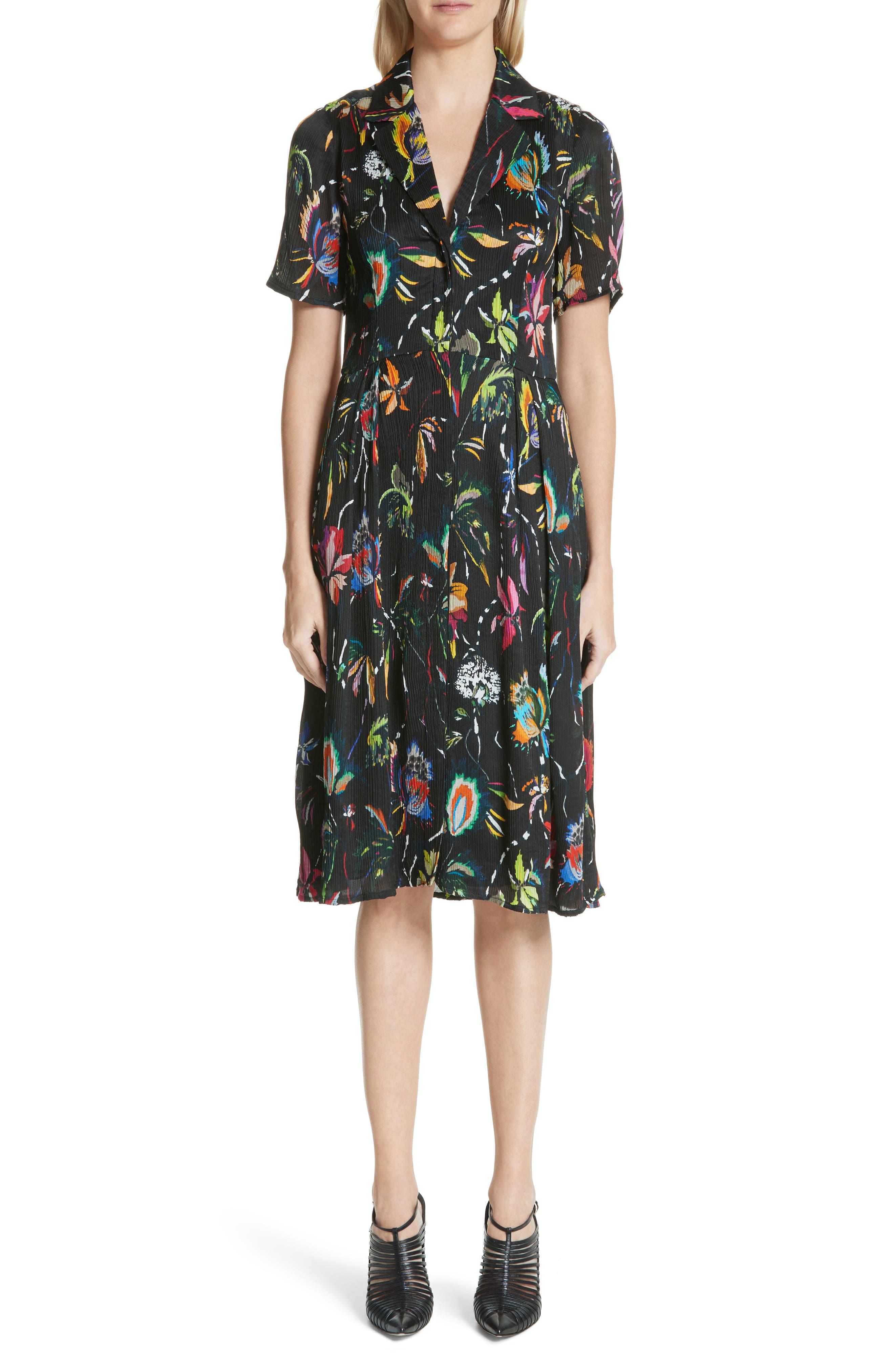 Floral Print Plissé Silk Crepon Dress,                             Main thumbnail 1, color,                             002