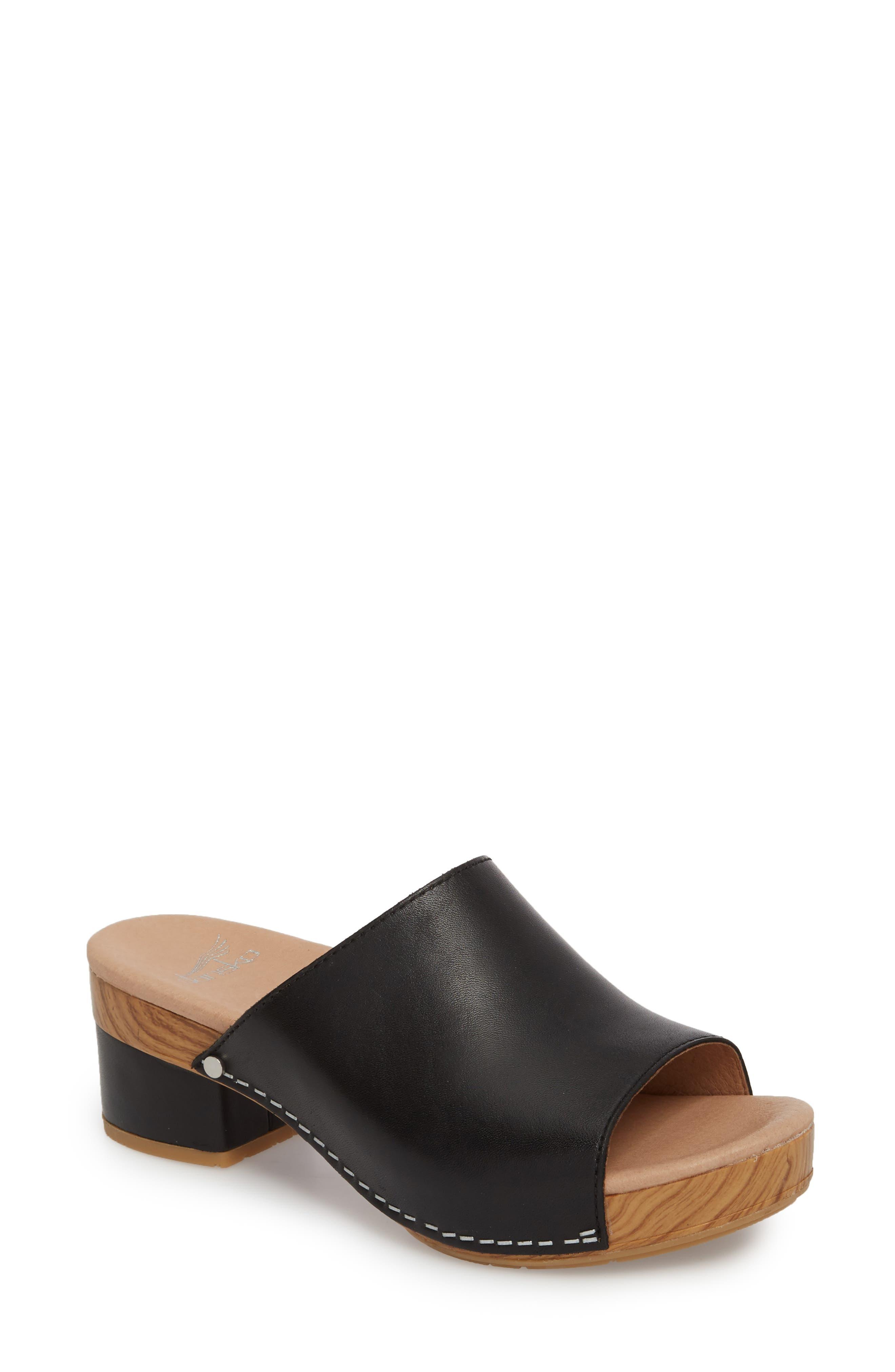 Maci Mule Sandal,                             Main thumbnail 1, color,                             BLACK LEATHER