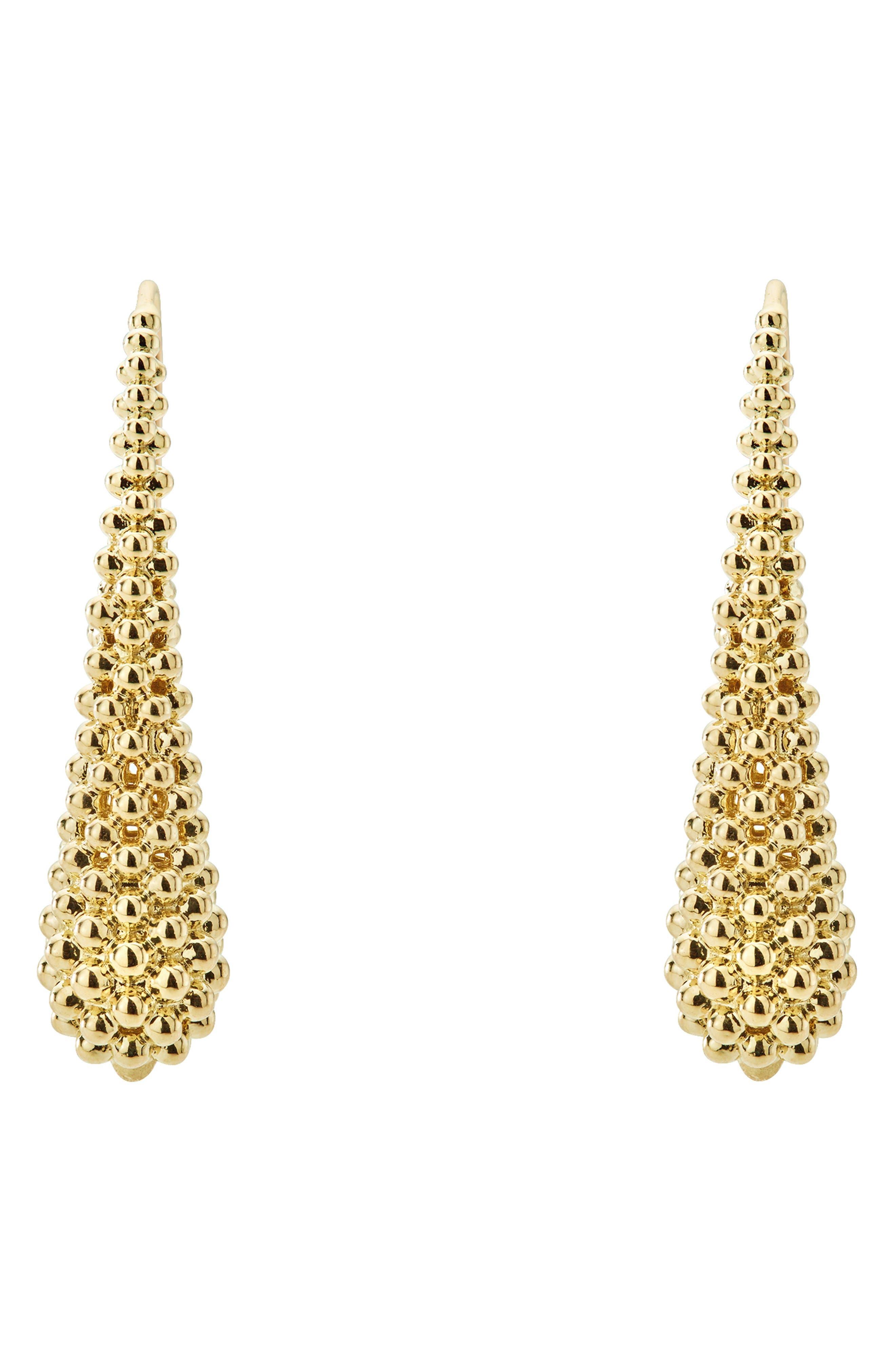 Caviar Gold Teardrop Earrings,                             Alternate thumbnail 3, color,                             GOLD
