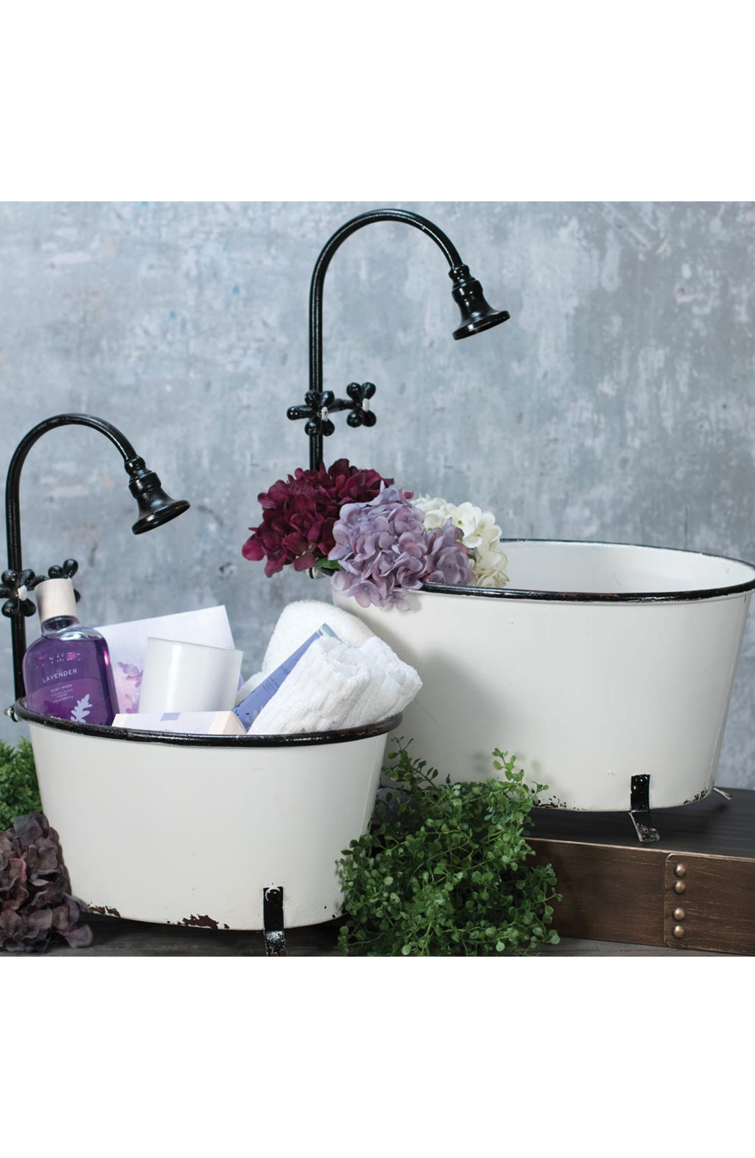 Antique Bathtub Set of 2 Planters,                             Alternate thumbnail 2, color,                             WHITE/BLACK