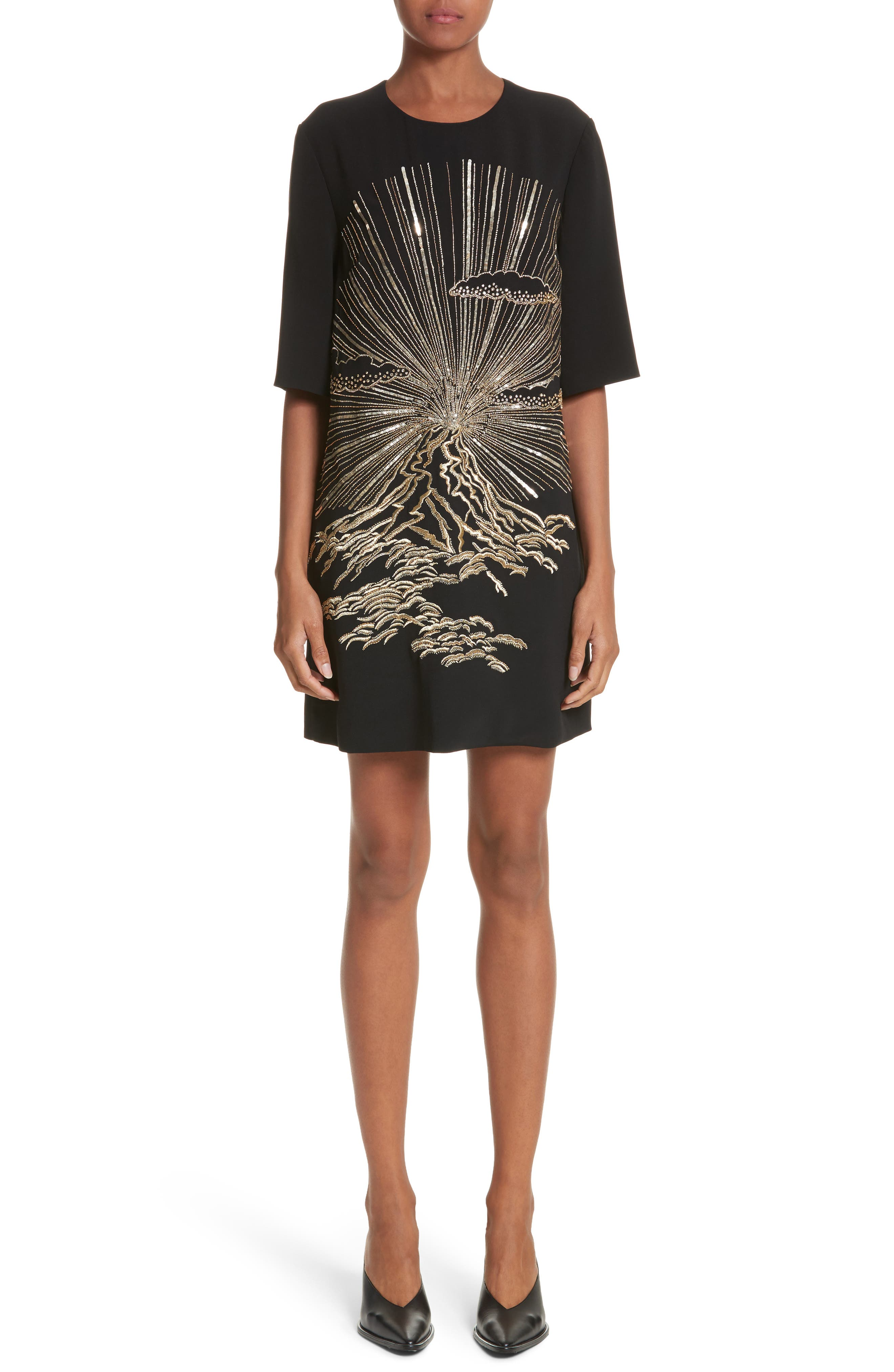 Volcano Embroidered Stretch Cady T-Shirt Dress,                         Main,                         color, 001
