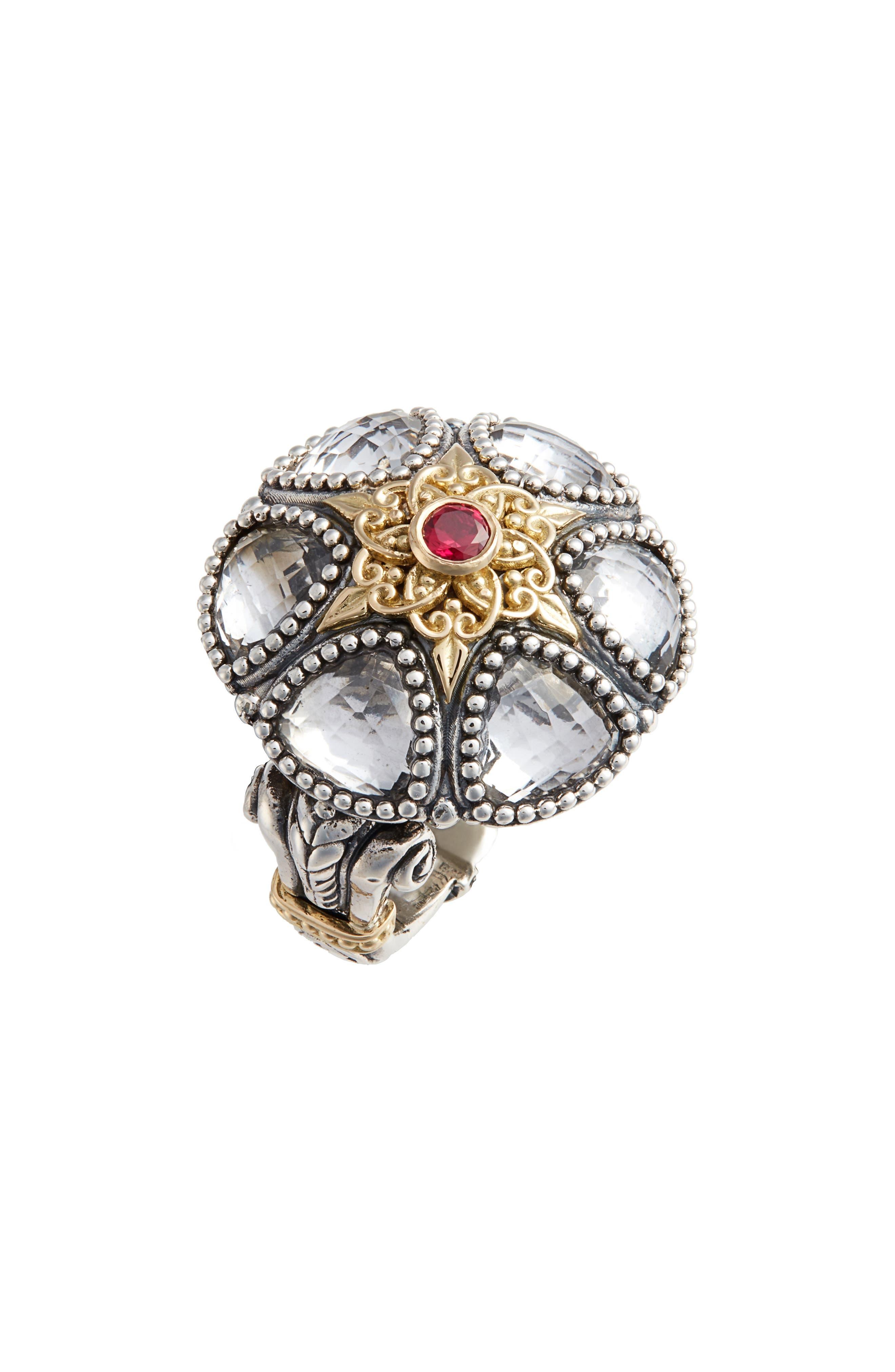 Pythia Crystal Statement Ring,                             Main thumbnail 1, color,                             SILVER/ CRYSTAL