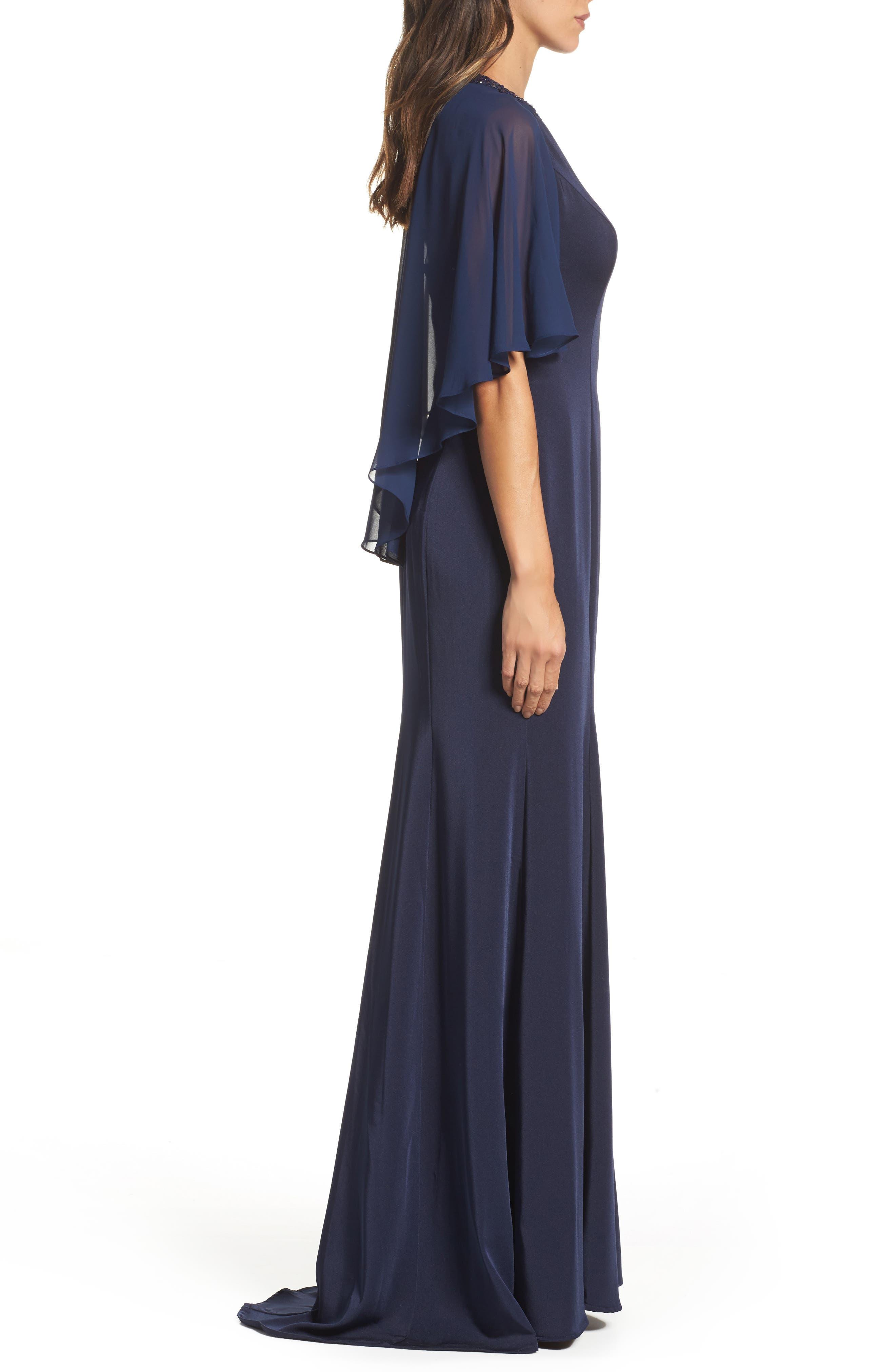Cape Illusion Gown,                             Alternate thumbnail 3, color,                             NAVY