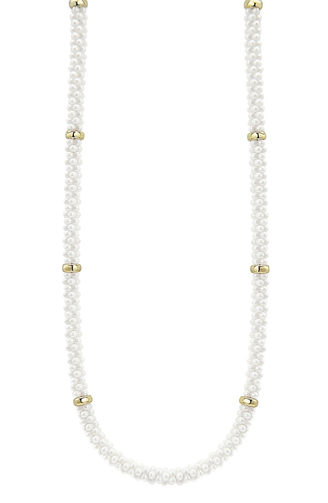 'White Caviar' 5mm Beaded Station Necklace,                             Alternate thumbnail 3, color,                             WHITE CAVIAR