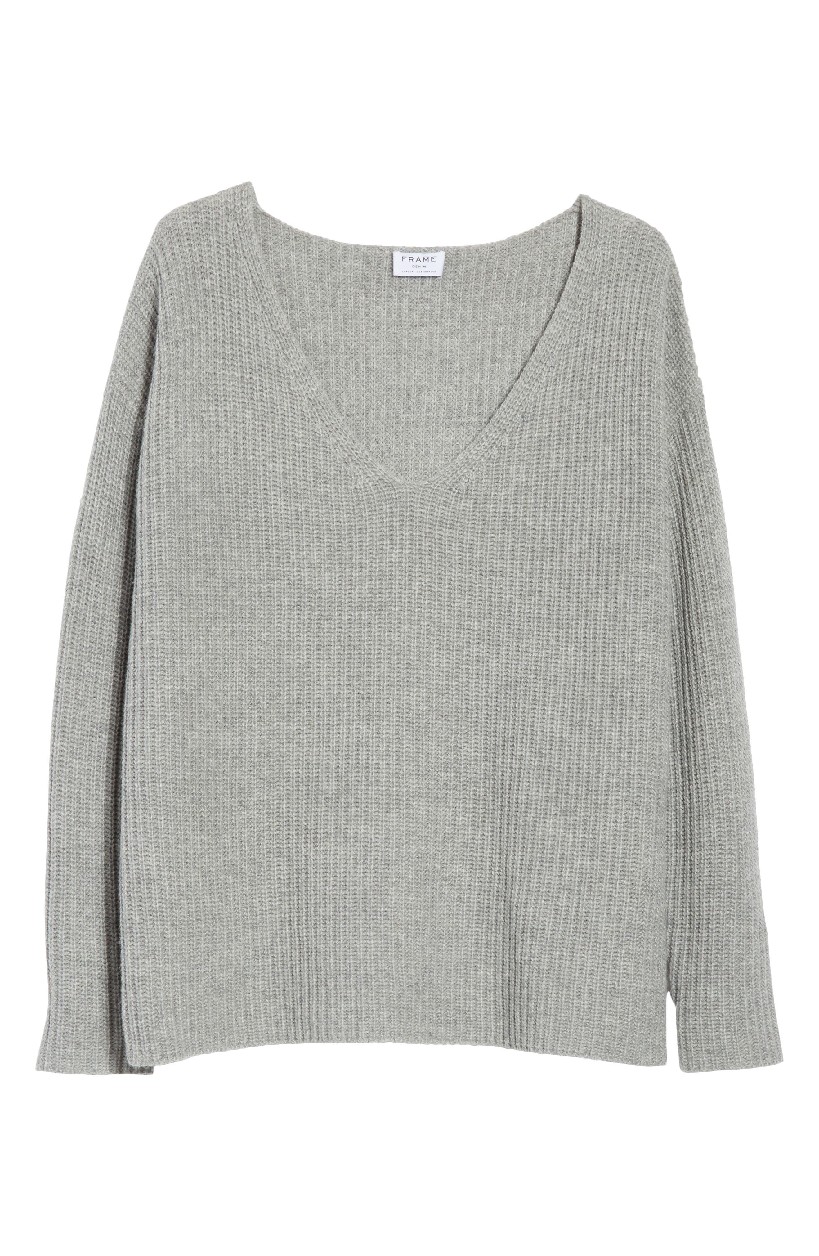 Oversize V-Neck Sweater,                             Alternate thumbnail 6, color,                             021